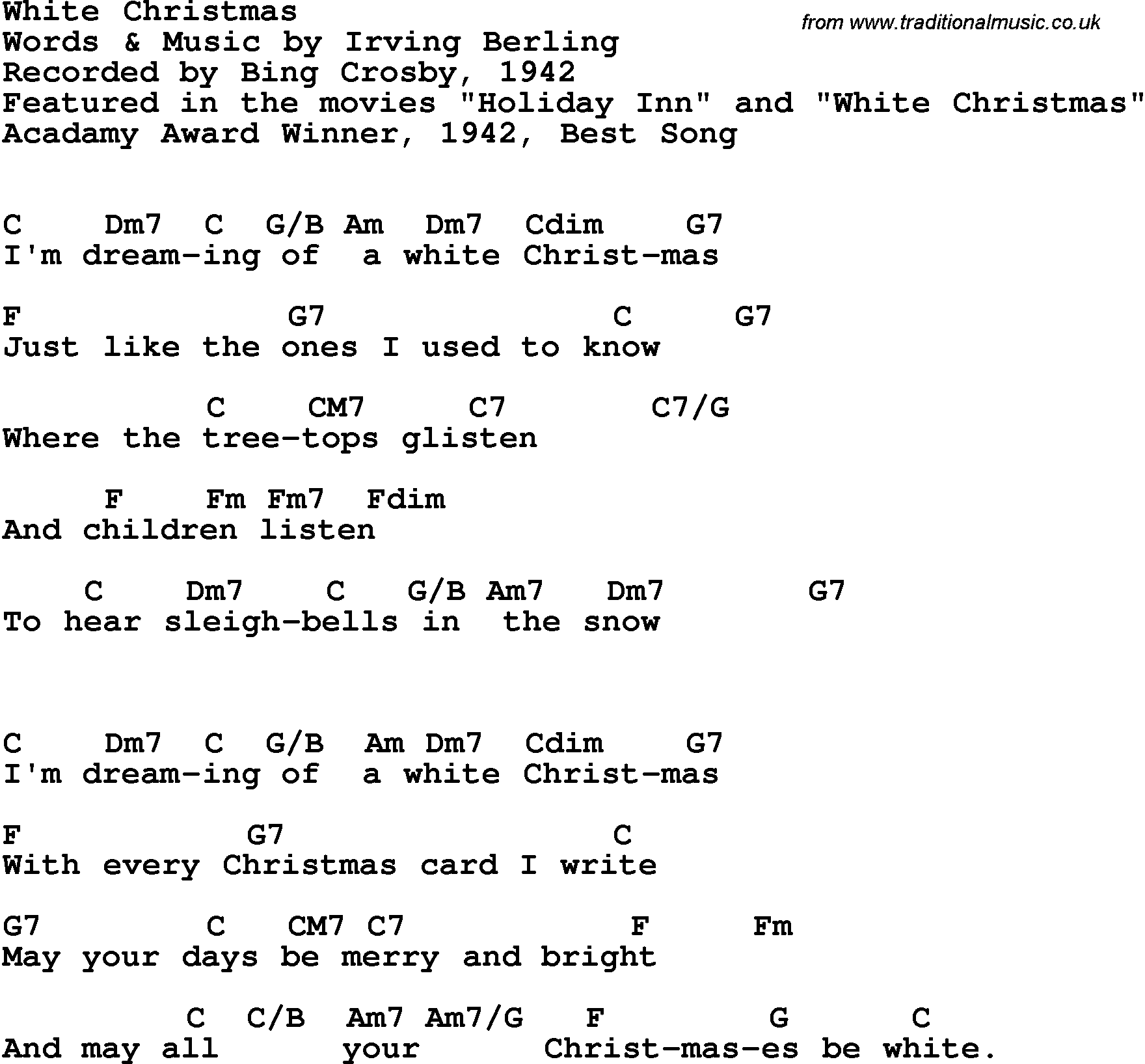 Song lyrics with guitar chords for White Christmas - Bing Crosby, 1942
