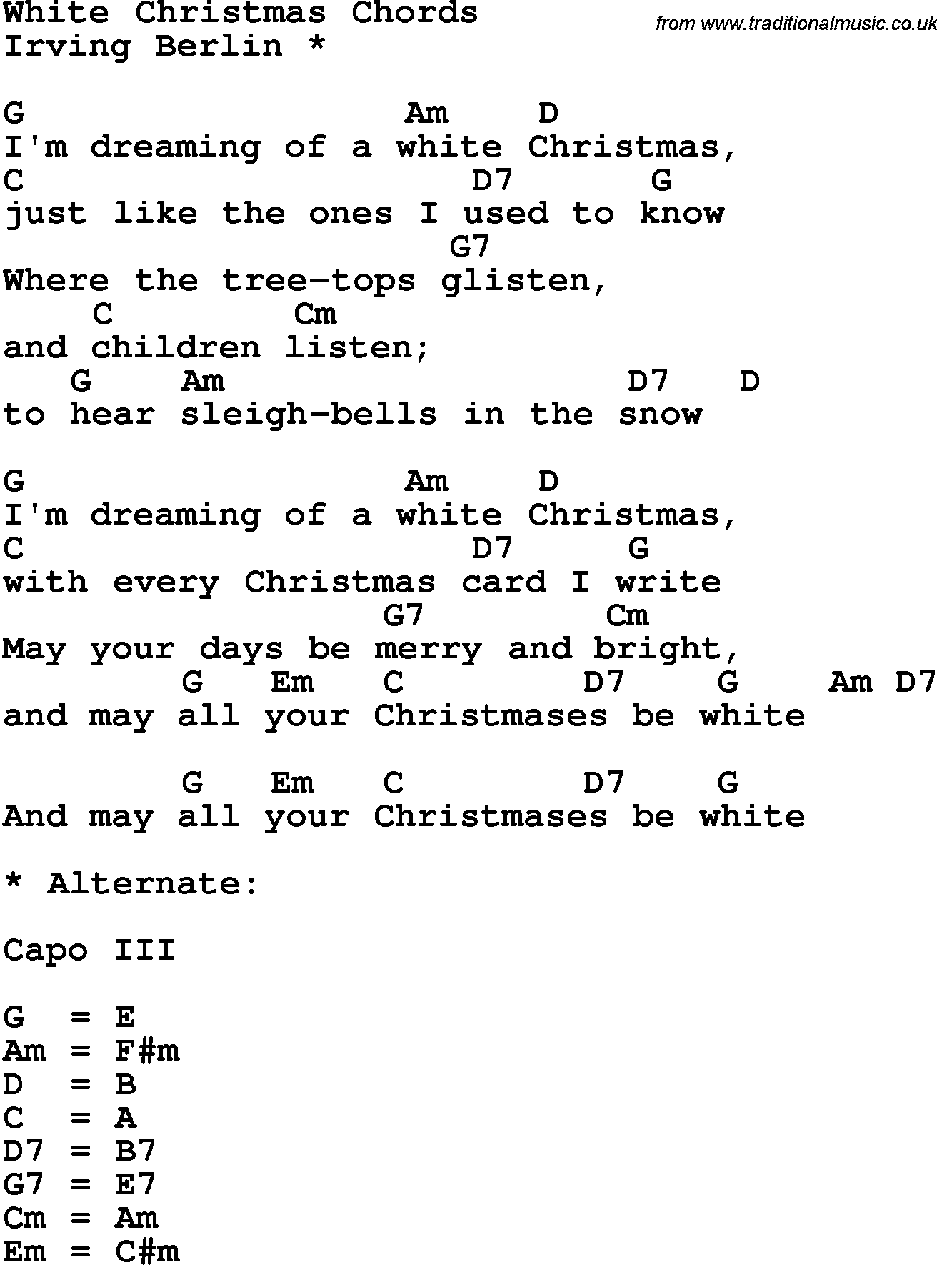 Song lyrics with guitar chords for White Christmas - Irving Berlin