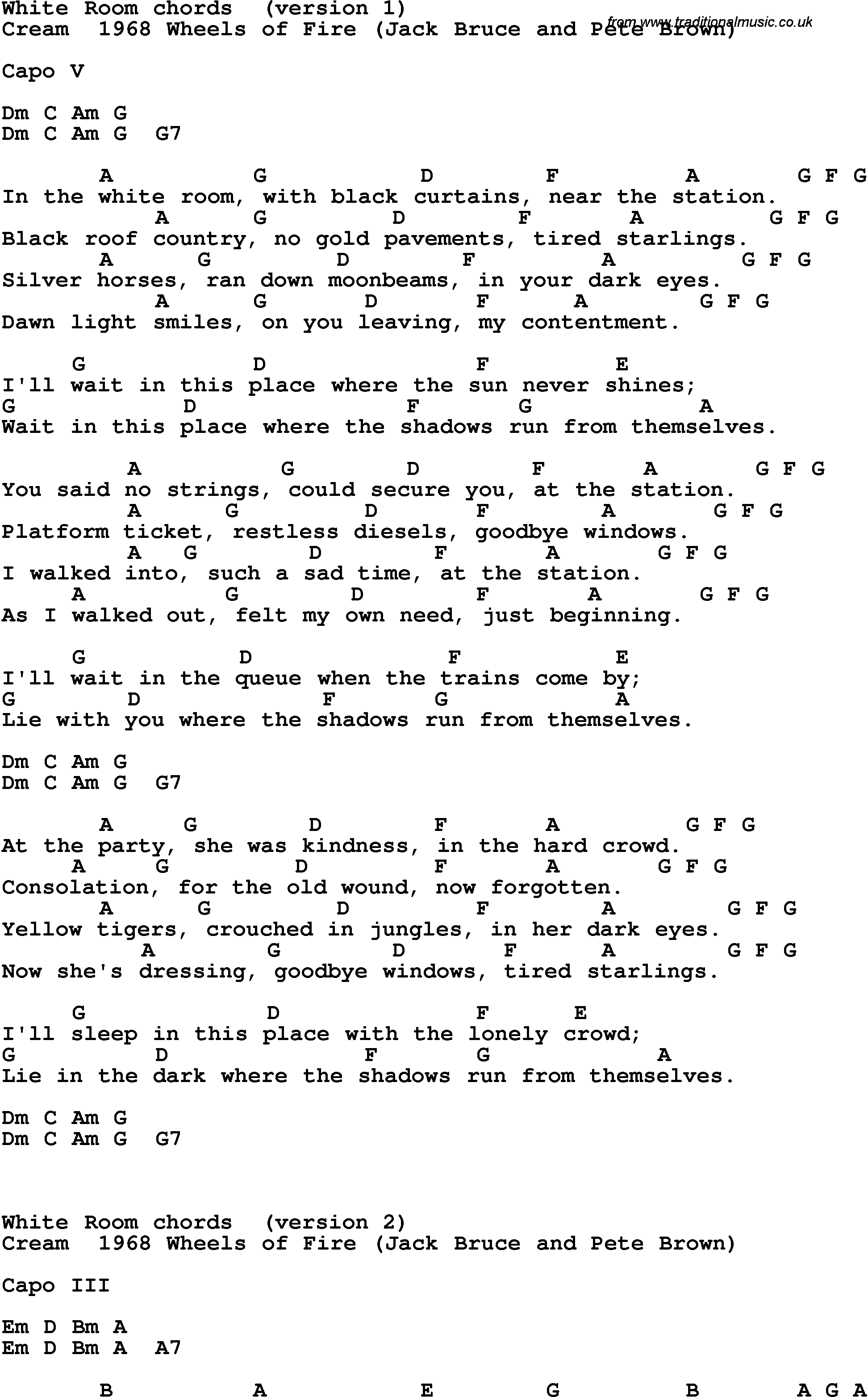 Song lyrics with guitar chords for white room for Pleasure p bedroom floor lyrics