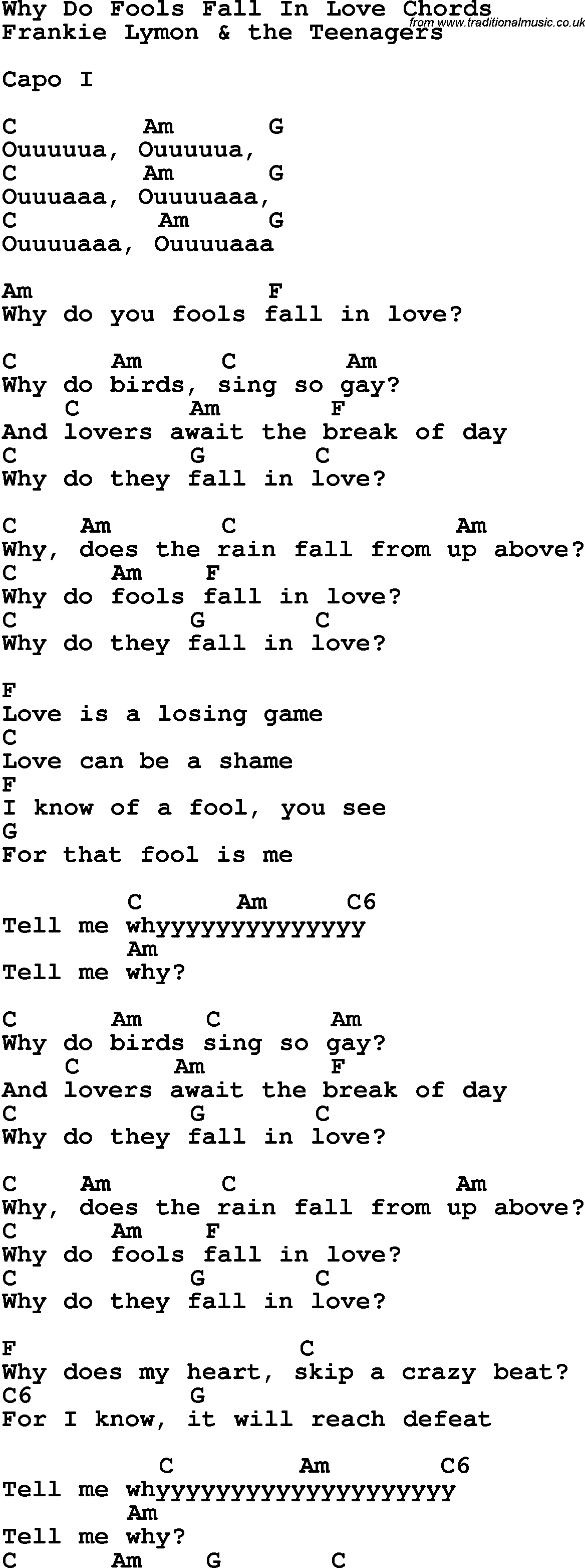 Song Lyrics With Guitar Chords For Why Do Fools Fall In Love I