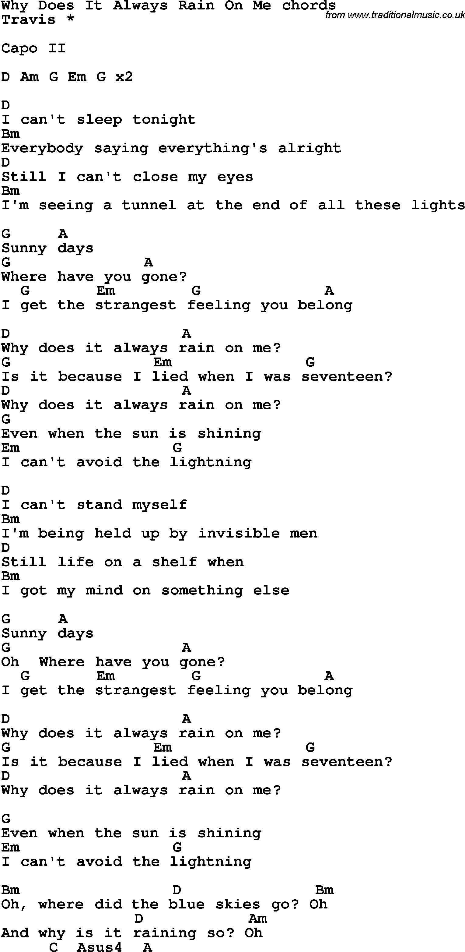Song Lyrics With Guitar Chords For Why Does It Always Rain