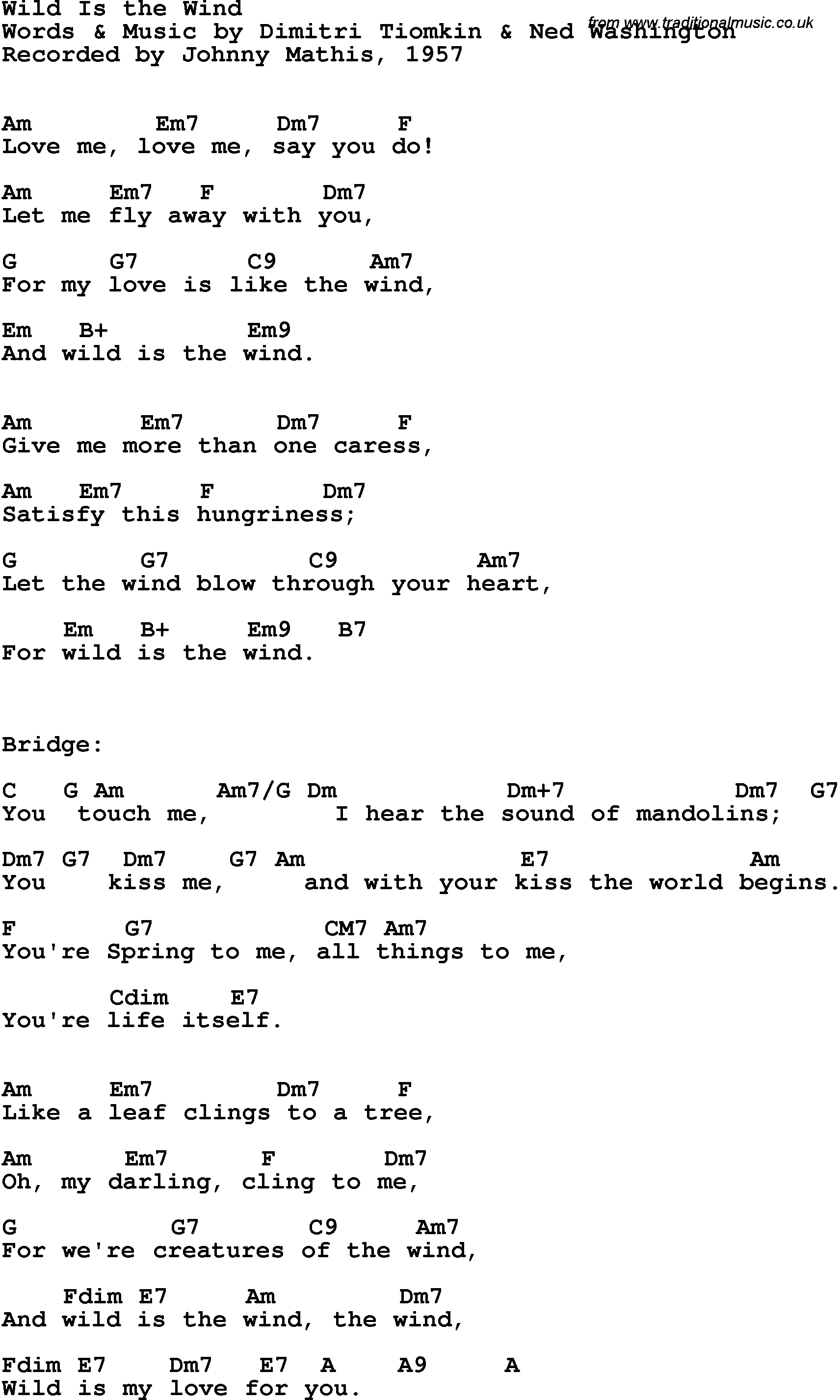 Song Lyrics With Guitar Chords For Wild Is The Wind Johnny Mathis