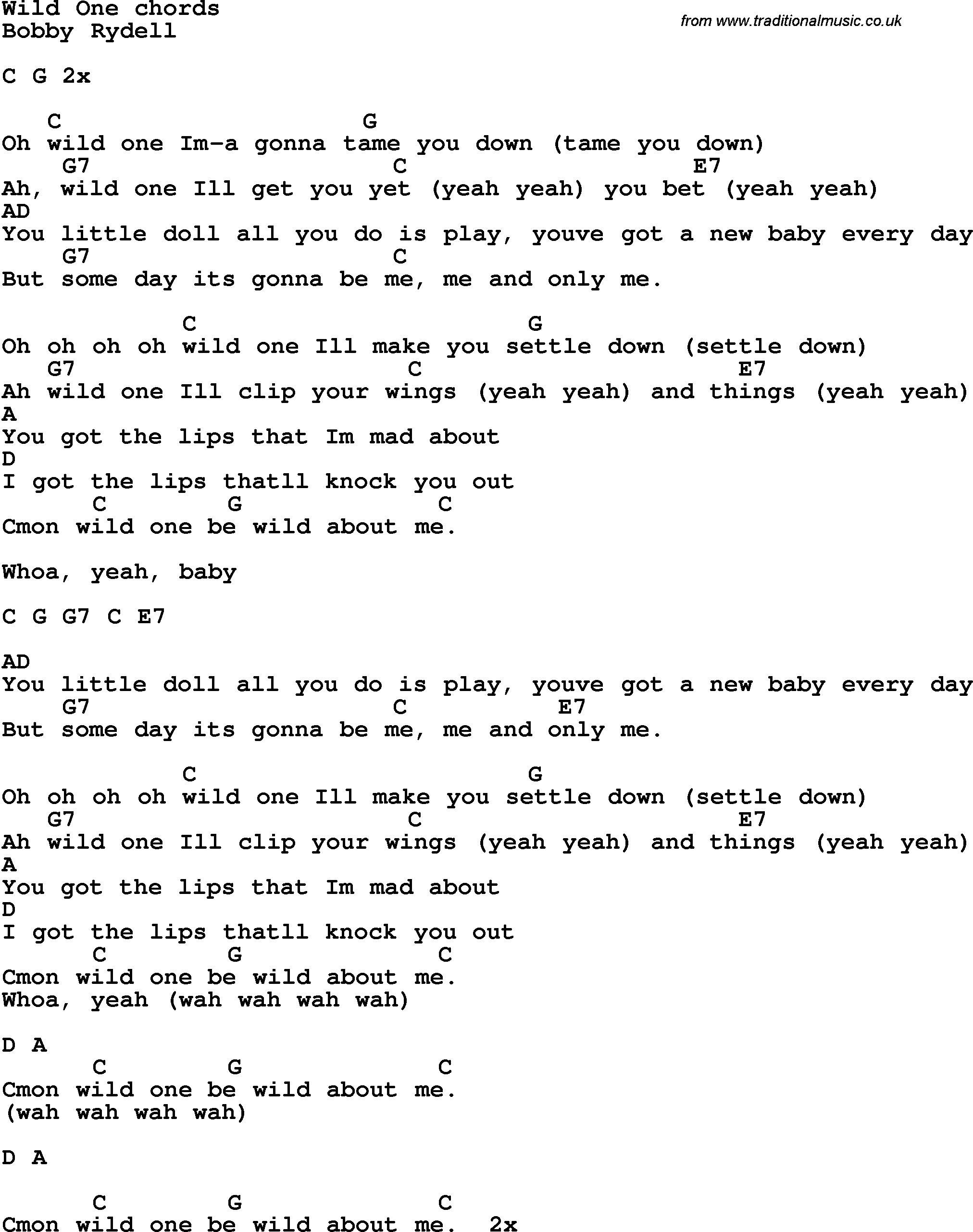 Song Lyrics With Guitar Chords For Wild One