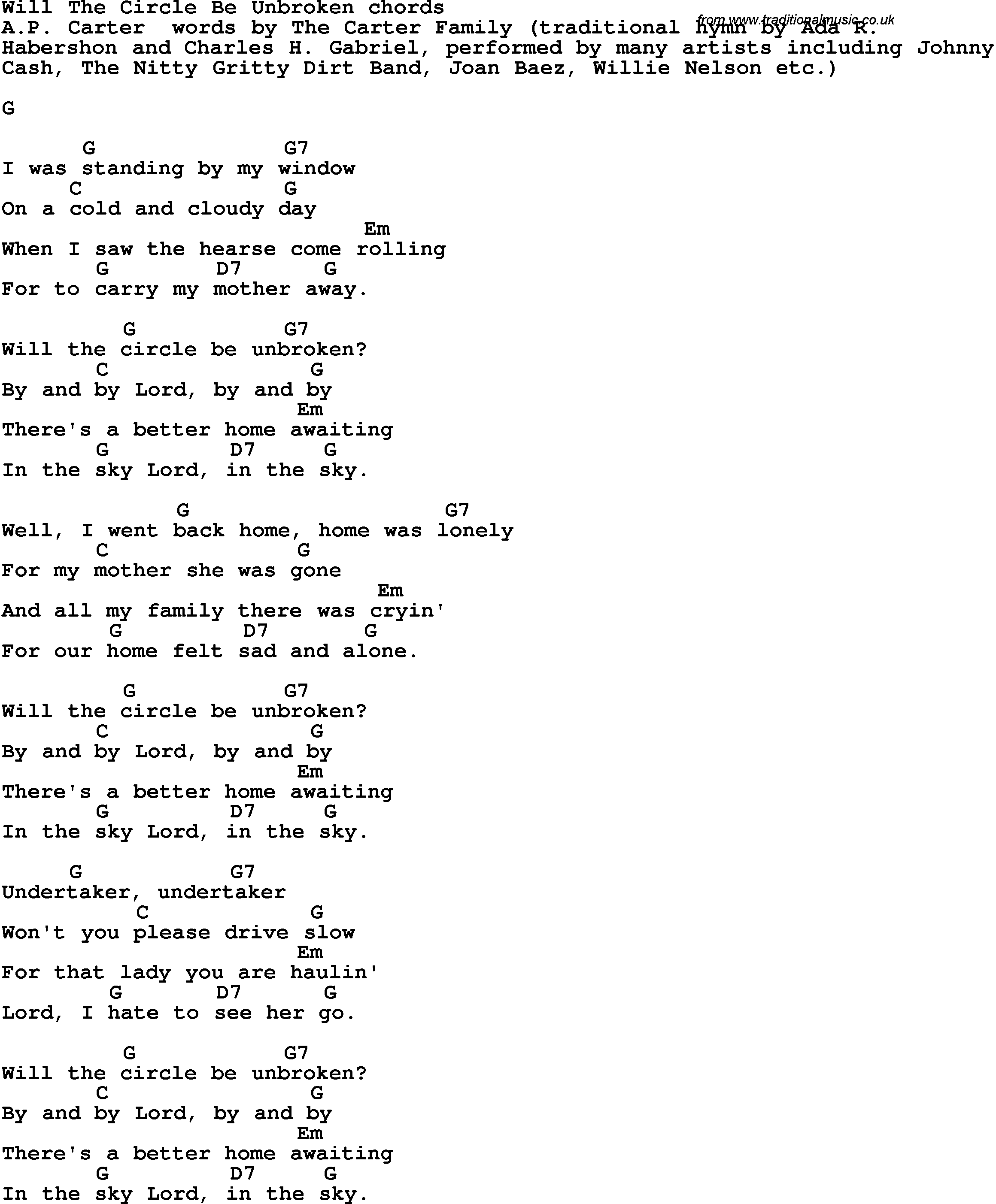 Song Lyrics With Guitar Chords For Will The Circle Be Unbroken