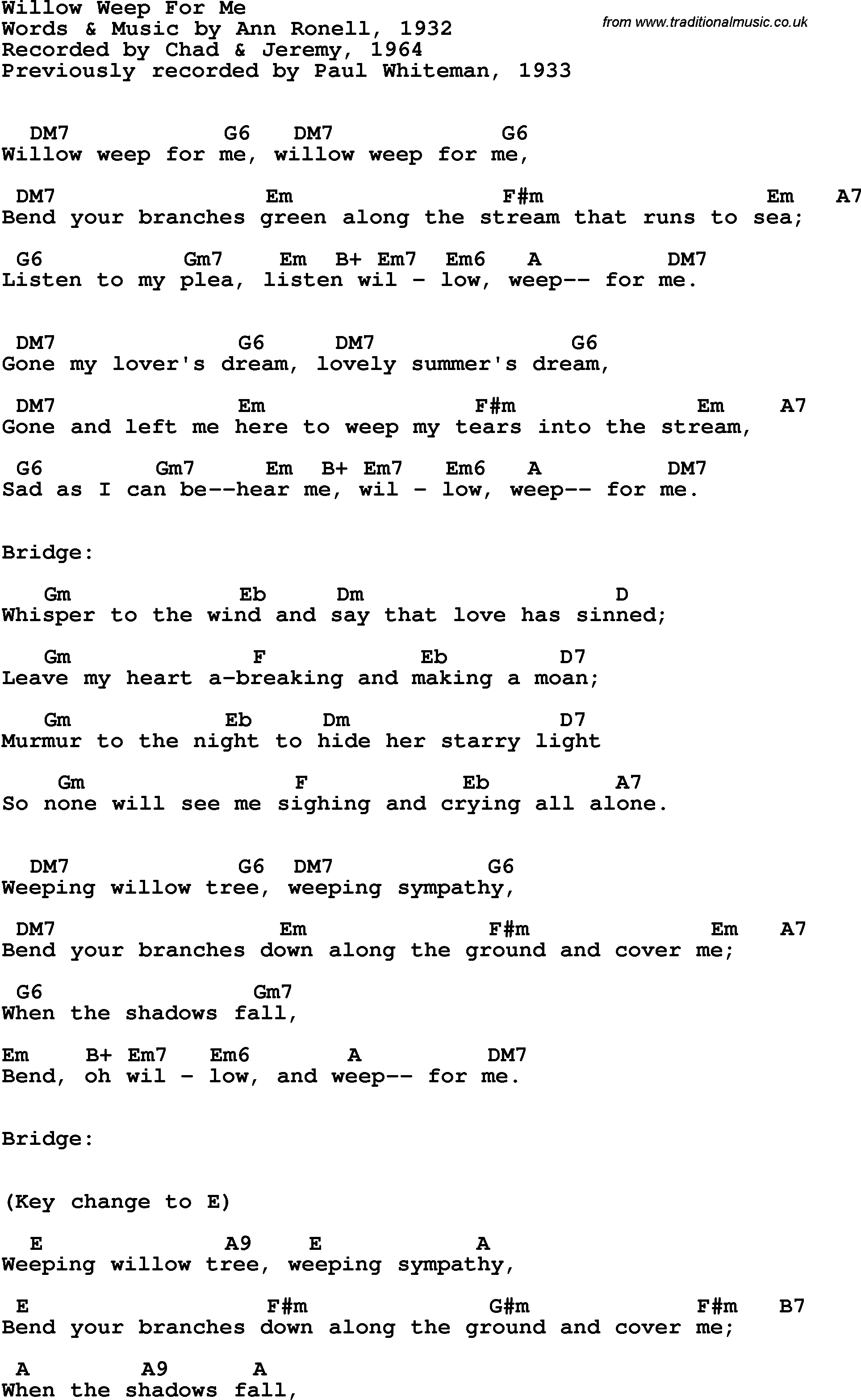 Song Lyrics With Guitar Chords For Willow Weep For Me Chad