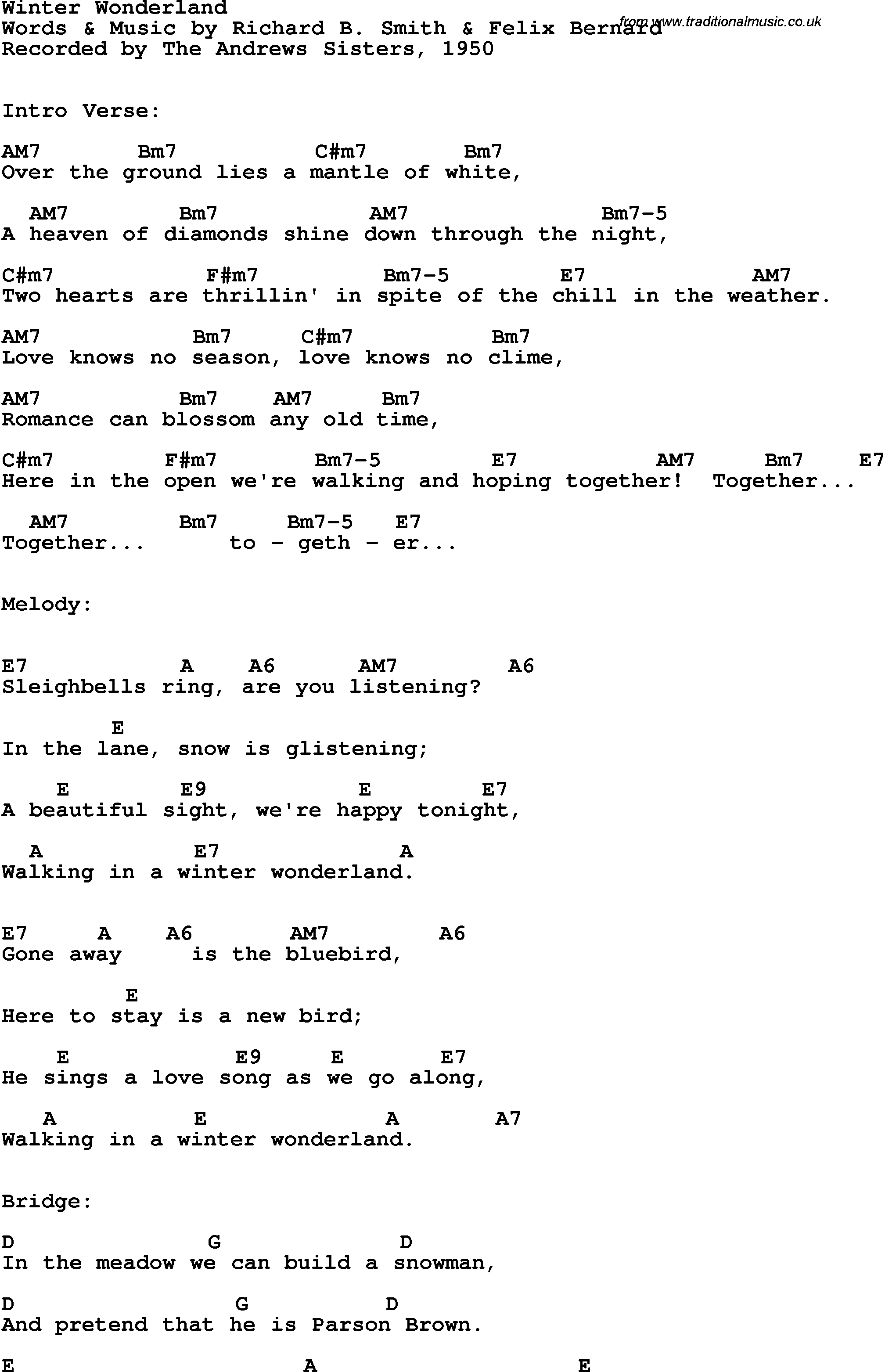 Song lyrics with guitar chords for Winter Wonderland - The Andrews Sisters, 1950