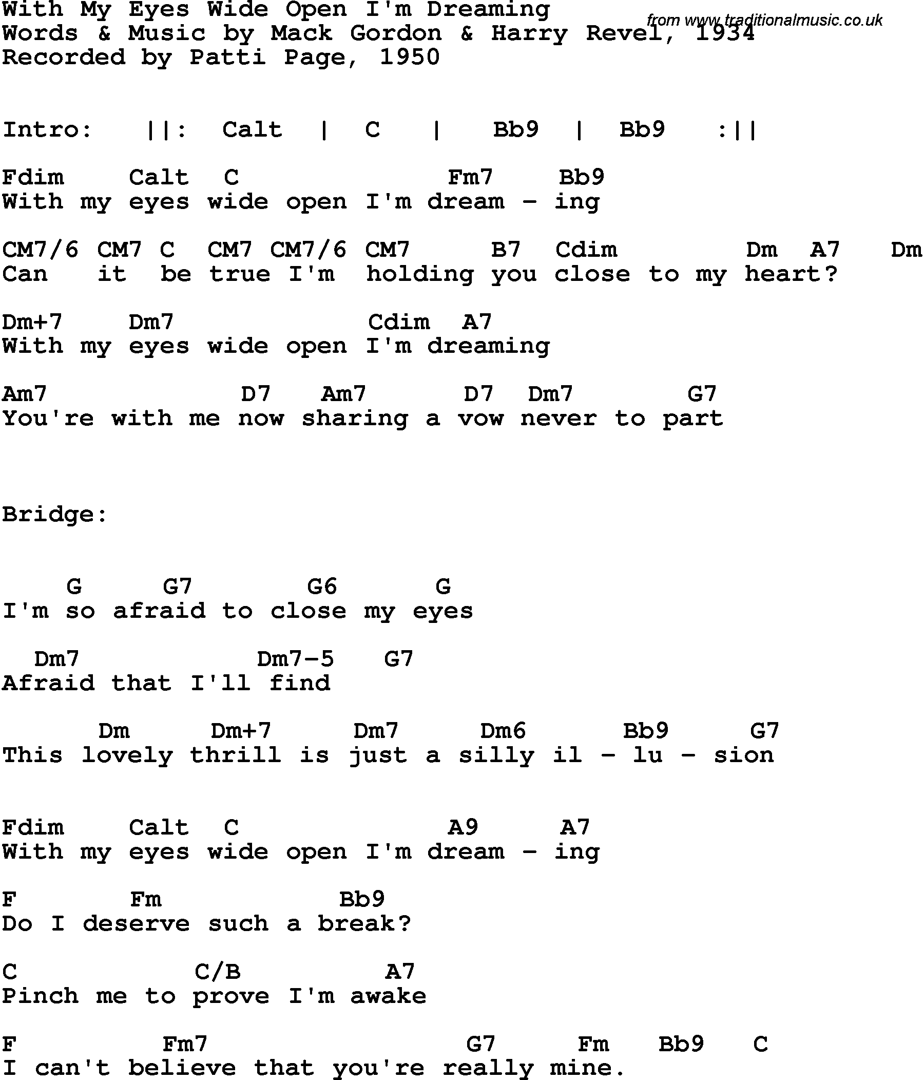 Song Lyrics With Guitar Chords For With My Eyes Wide Open Patti