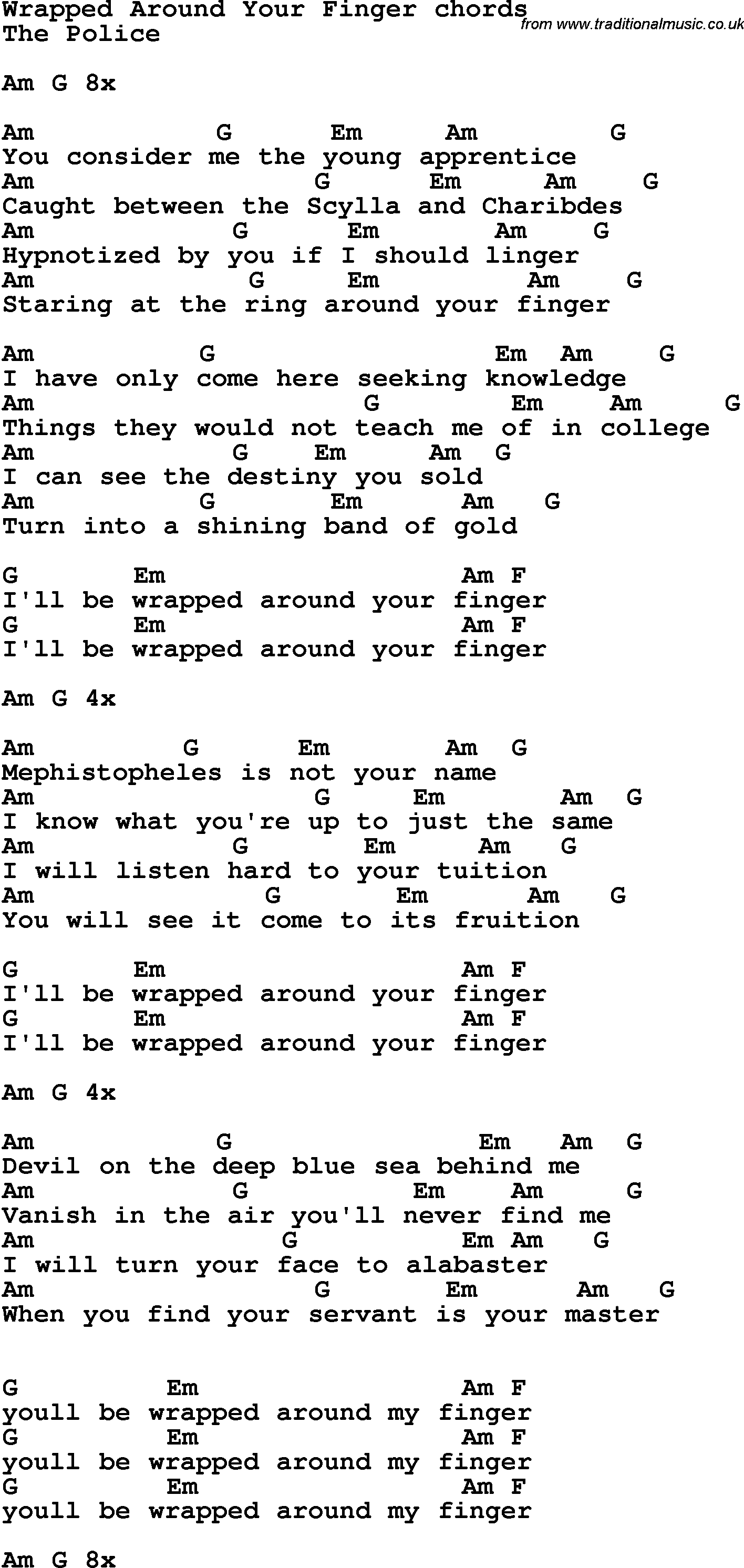Song lyrics with guitar chords for Wrapped Around Your Finger