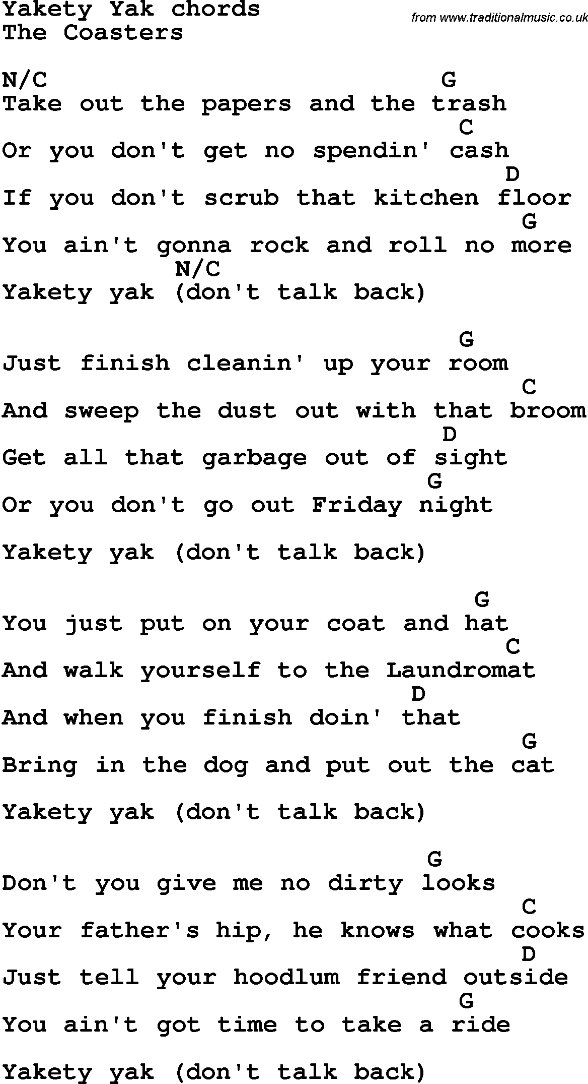 Song Lyrics With Guitar Chords For Yakety Yak