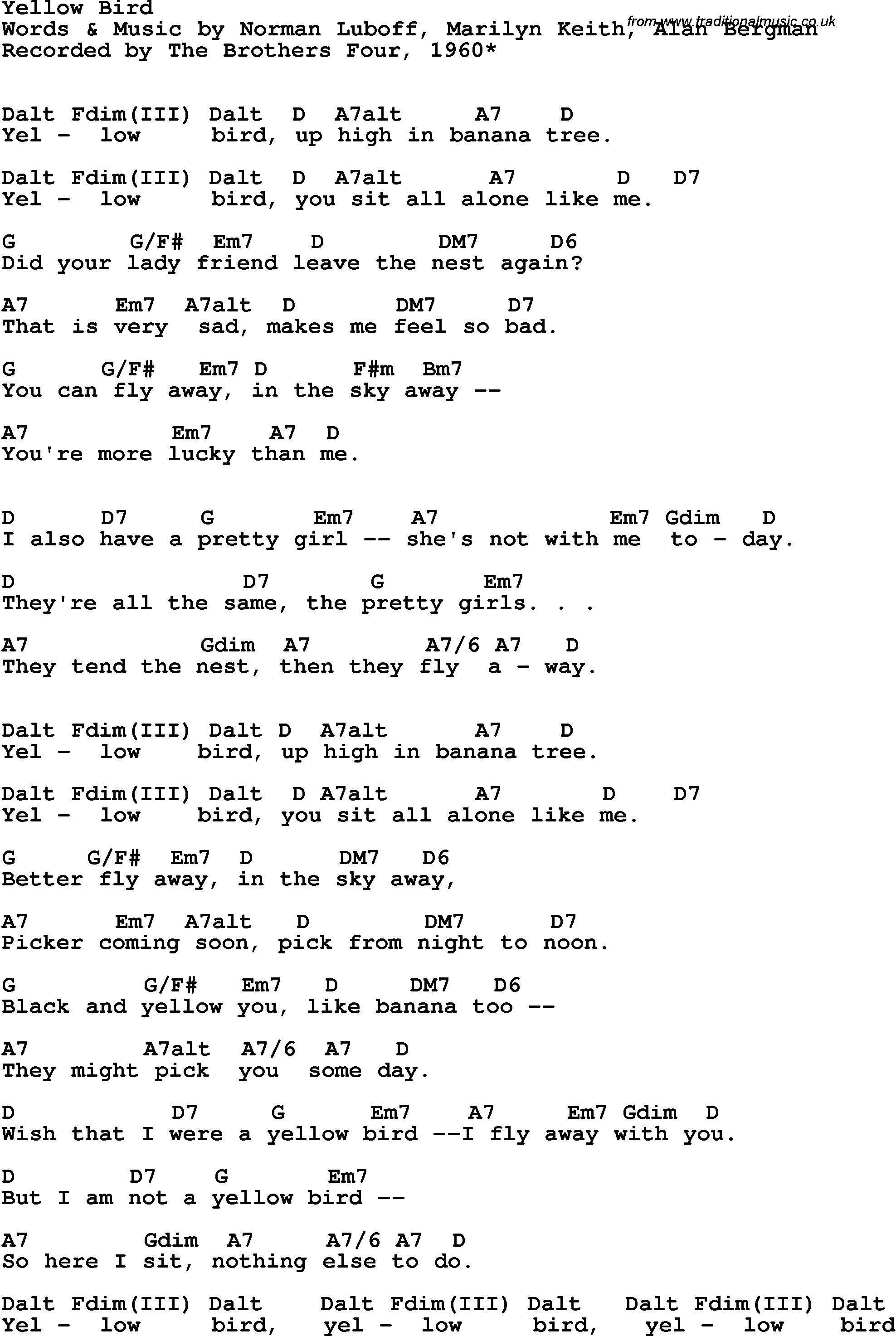 Song lyrics with guitar chords for Yellow Bird - The Brothers Four, 1967