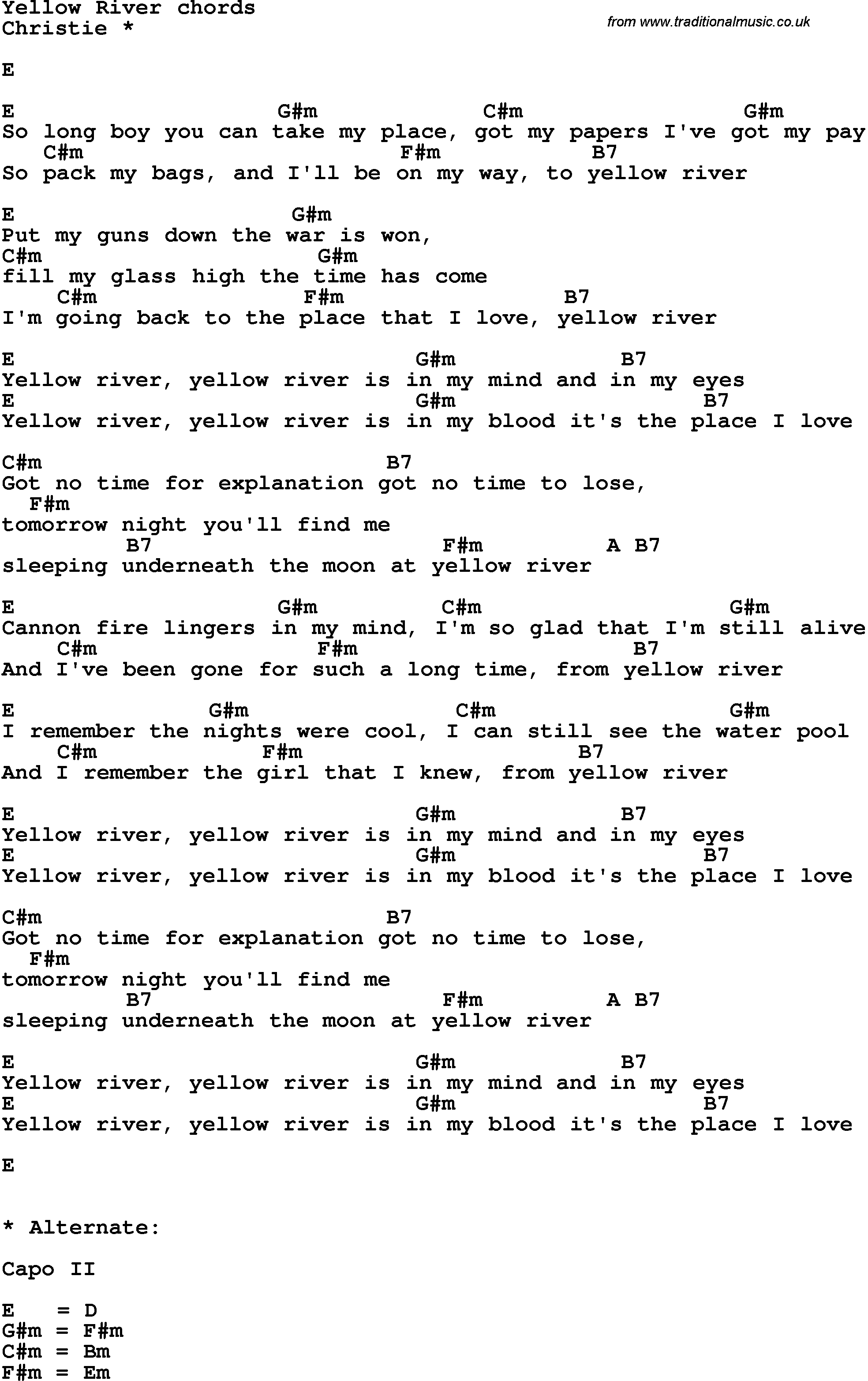 Song lyrics with guitar chords for Yellow River