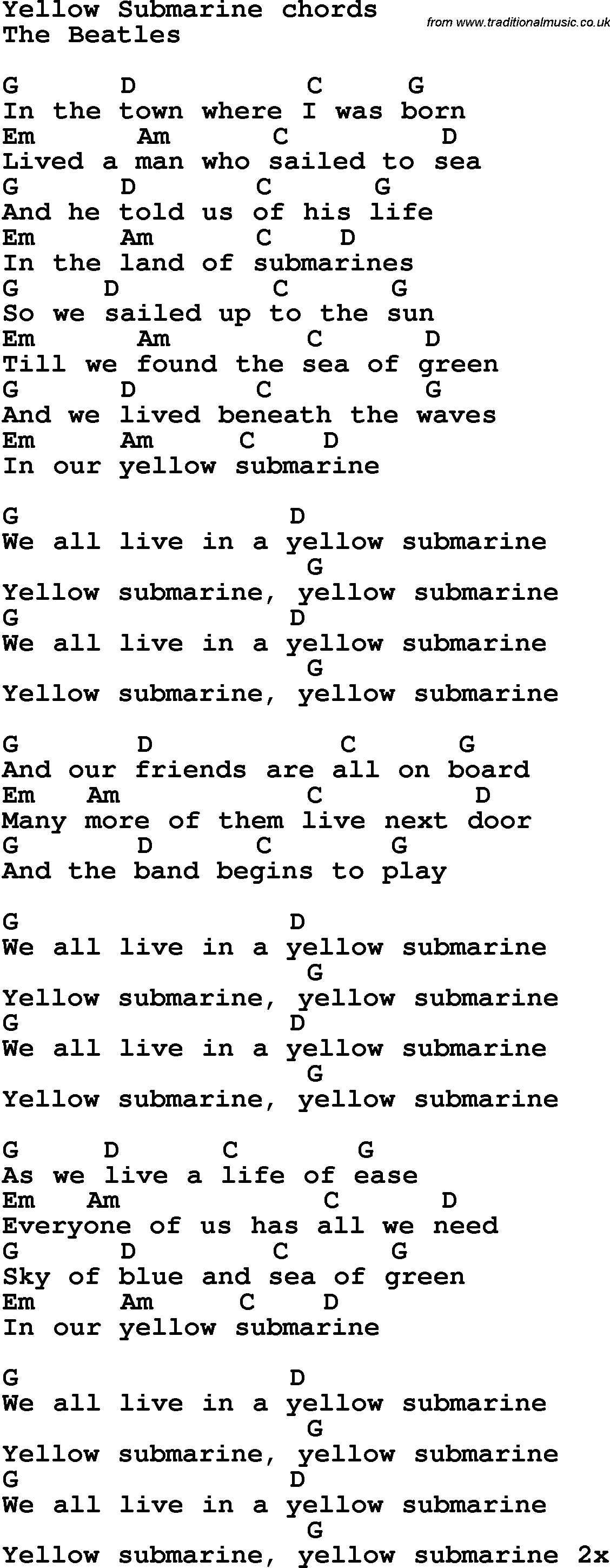 Song lyrics with guitar chords for Yellow Submarine