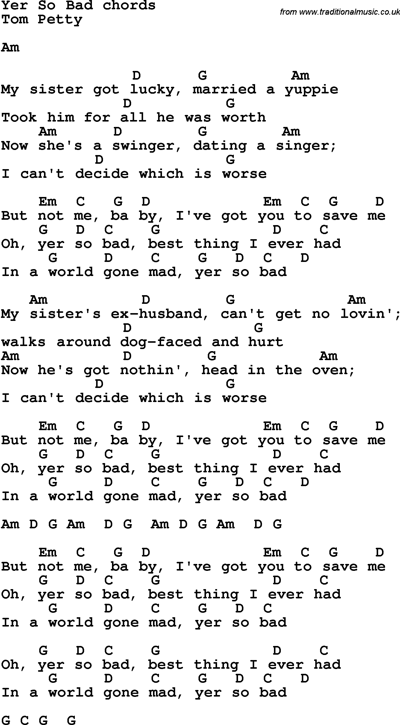 Song Lyrics With Guitar Chords For Yer So Bad