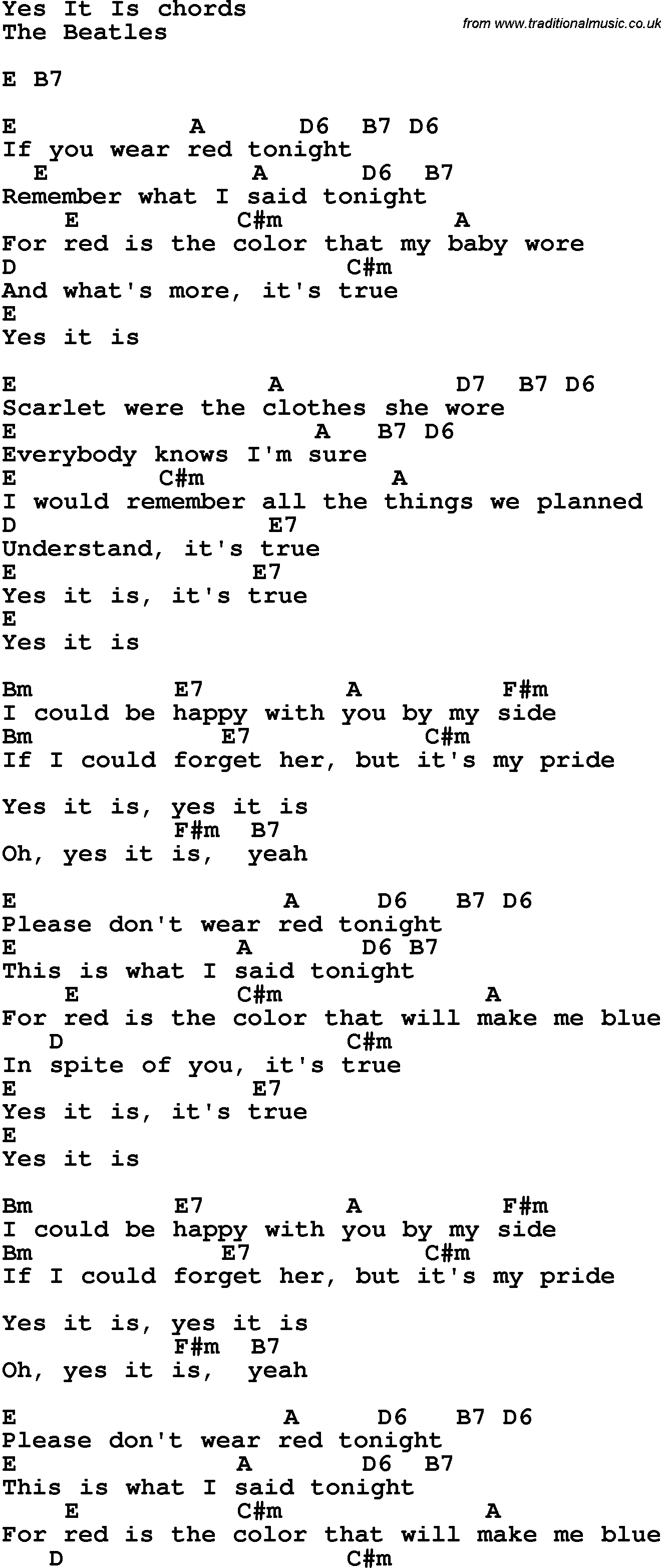 Song lyrics with guitar chords for Yes It Is