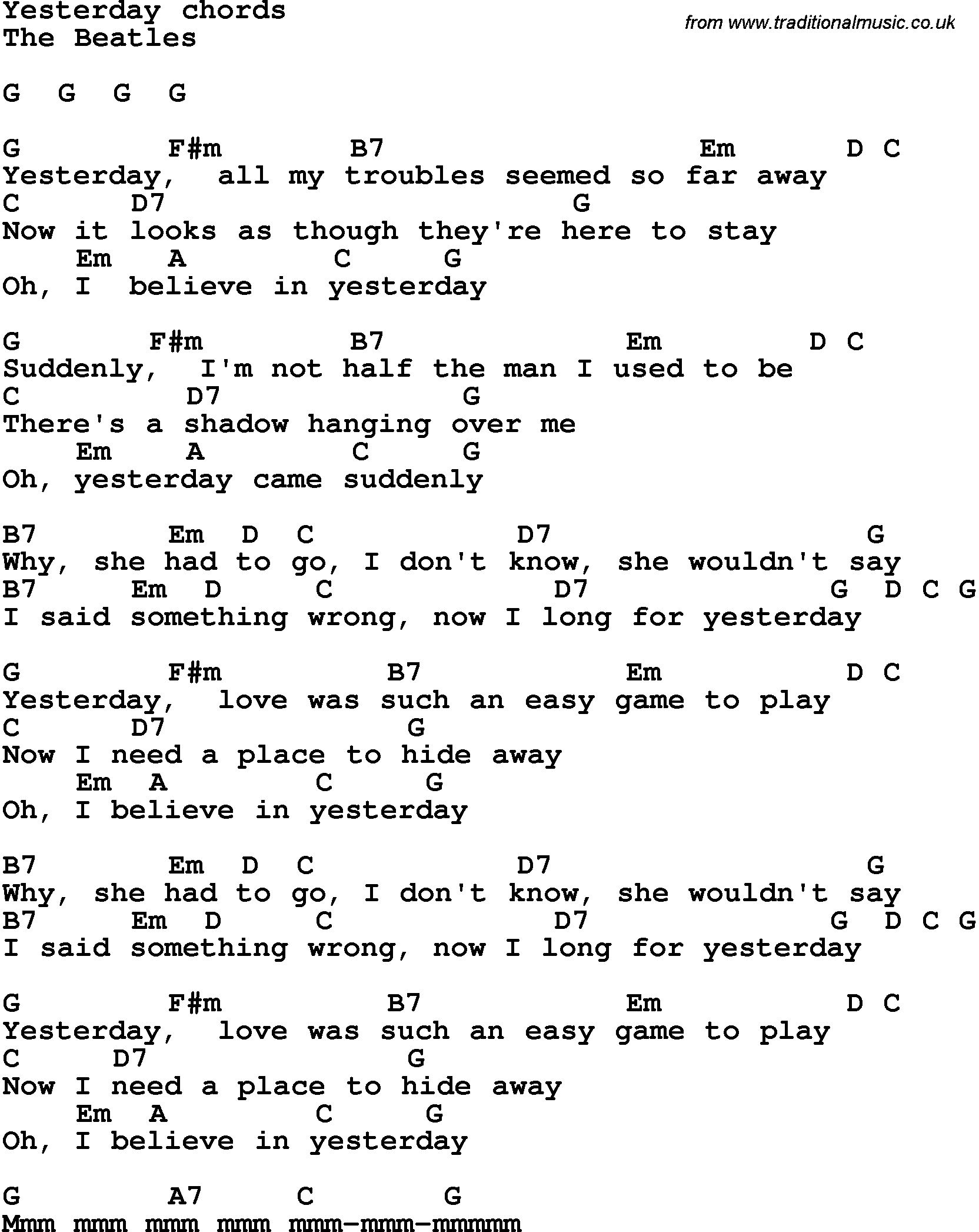 Song lyrics with guitar chords for yesterday the beatles song lyrics with guitar chords for yesterday the beatles hexwebz Images