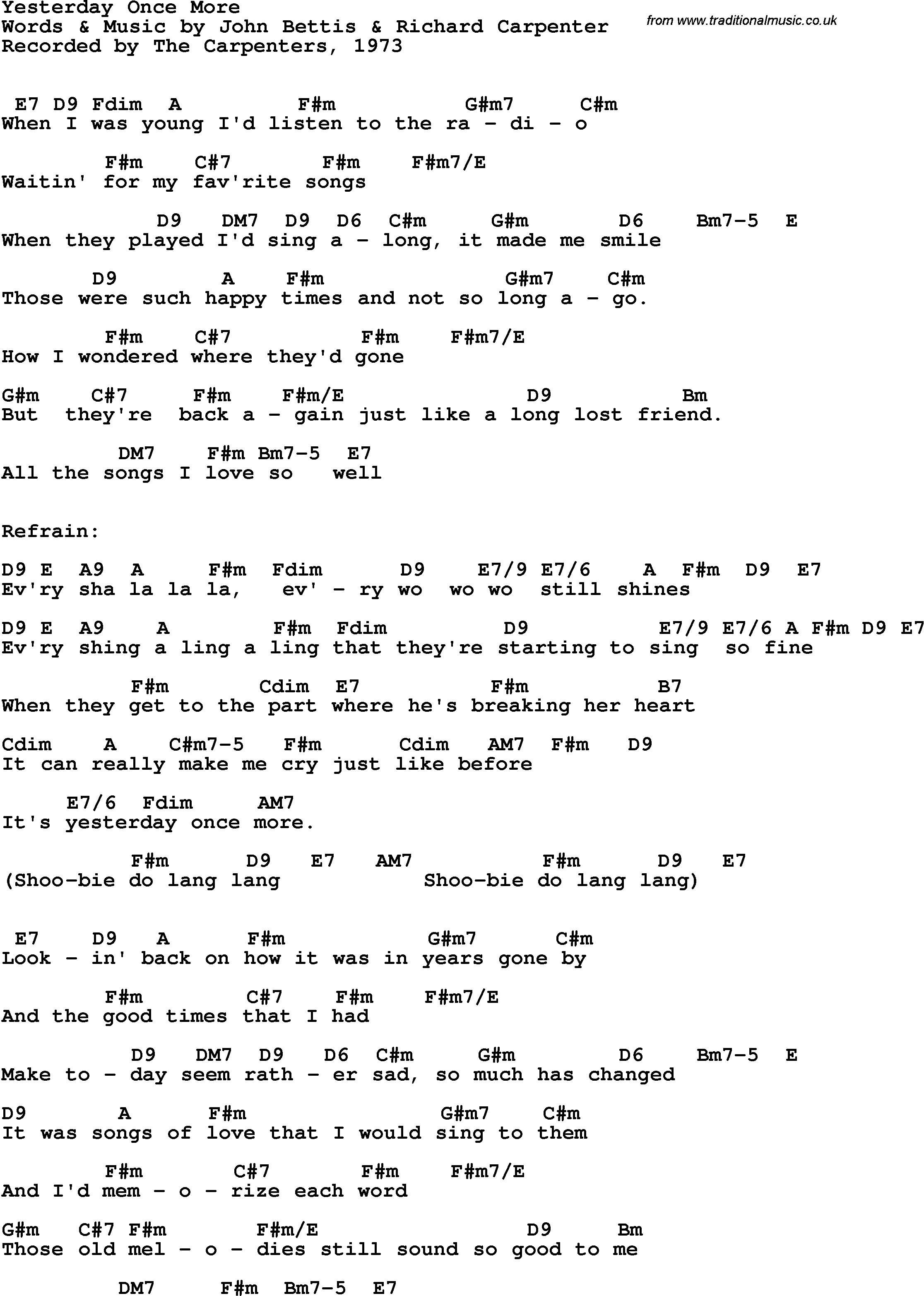 Song Lyrics With Guitar Chords For Yesterday Once More The