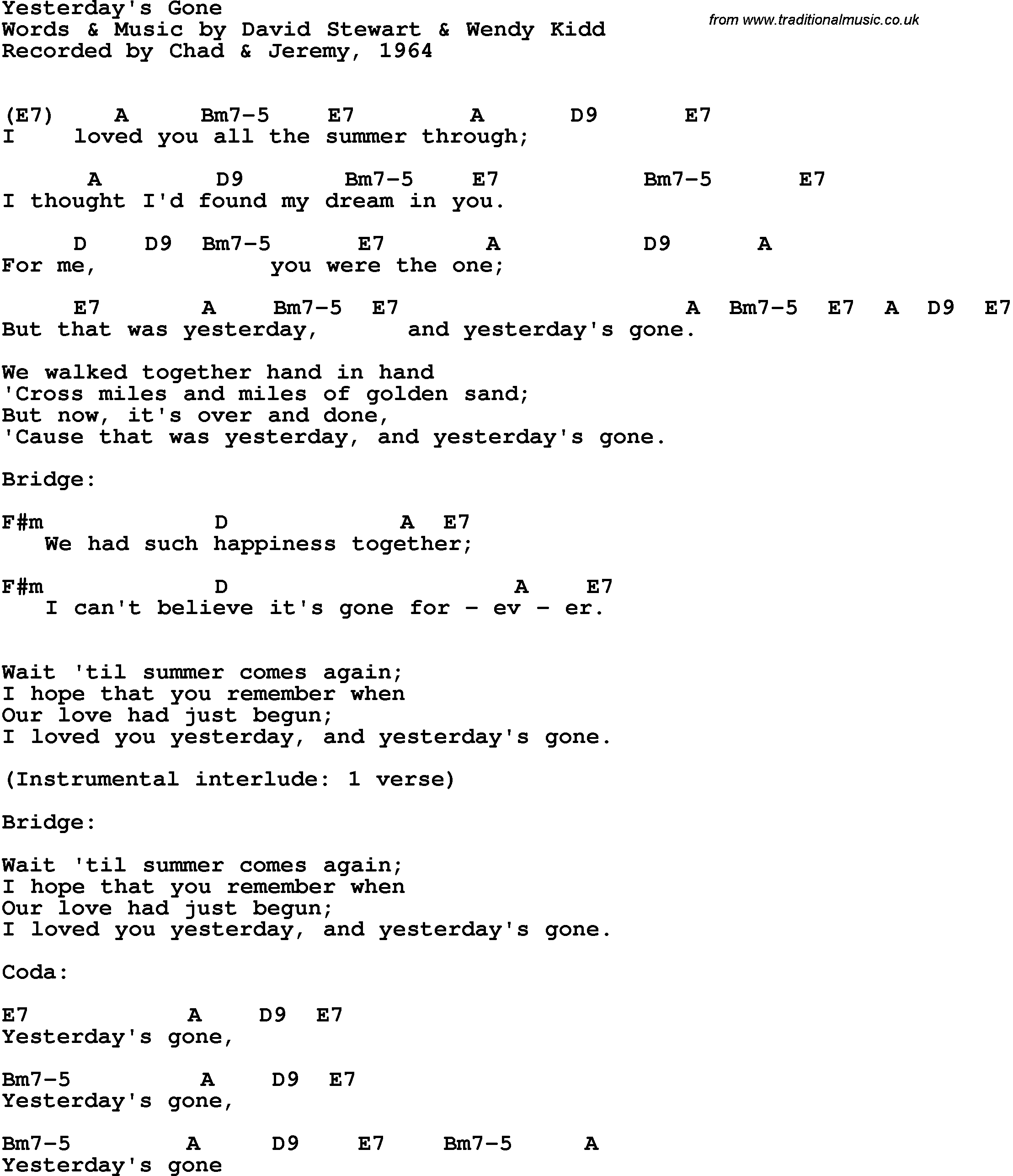 Song Lyrics With Guitar Chords For Yesterdays Gone Chad Jeremy