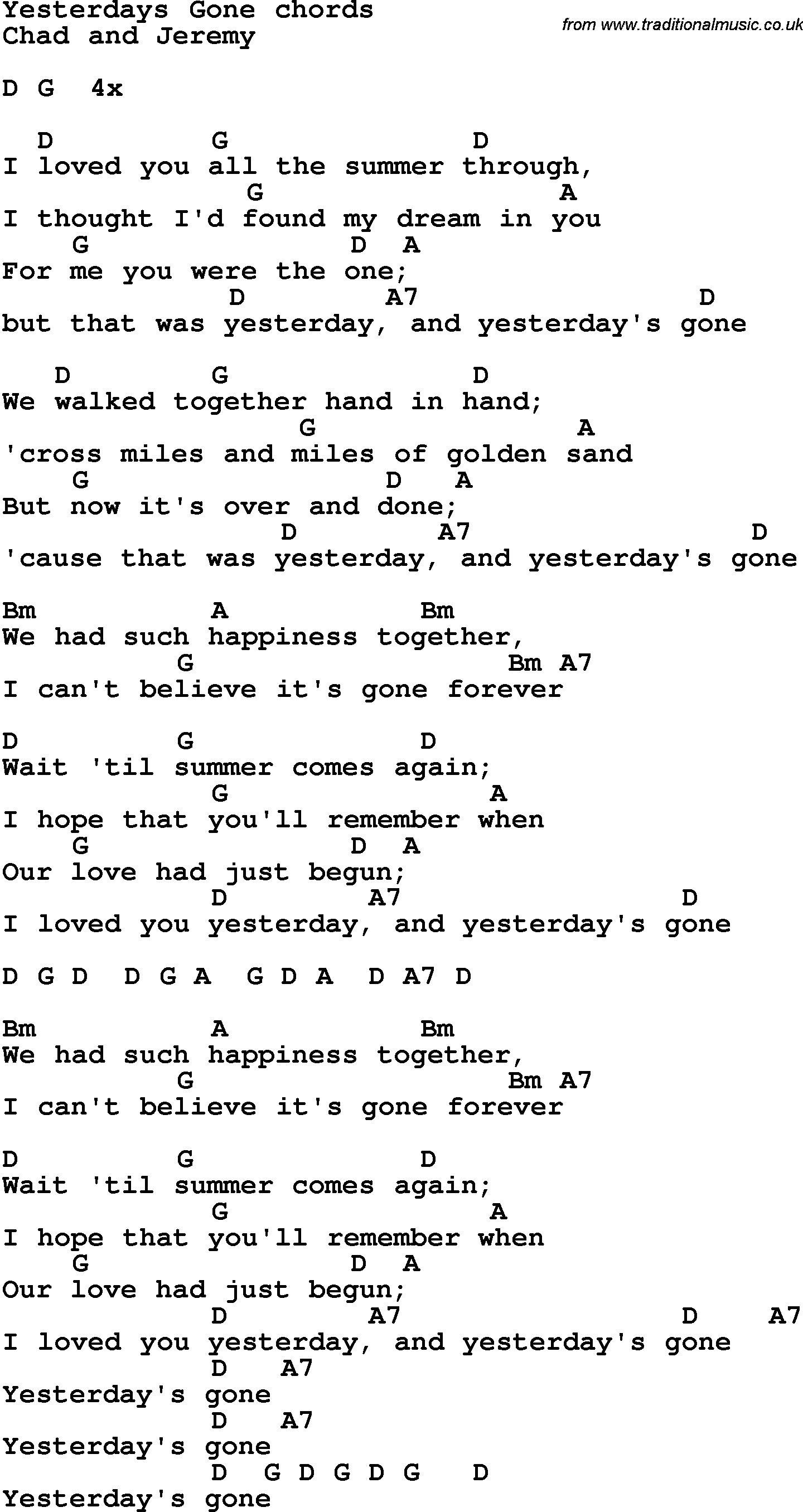 Song Lyrics With Guitar Chords For Yesterdays Gone