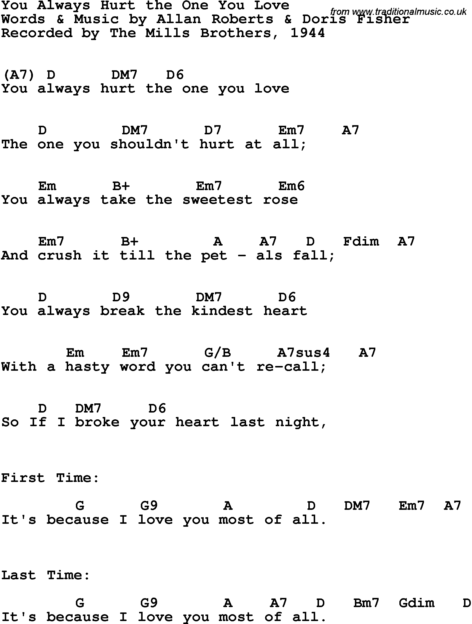 Song Lyrics With Guitar Chords For You Always Hurt The One You Love