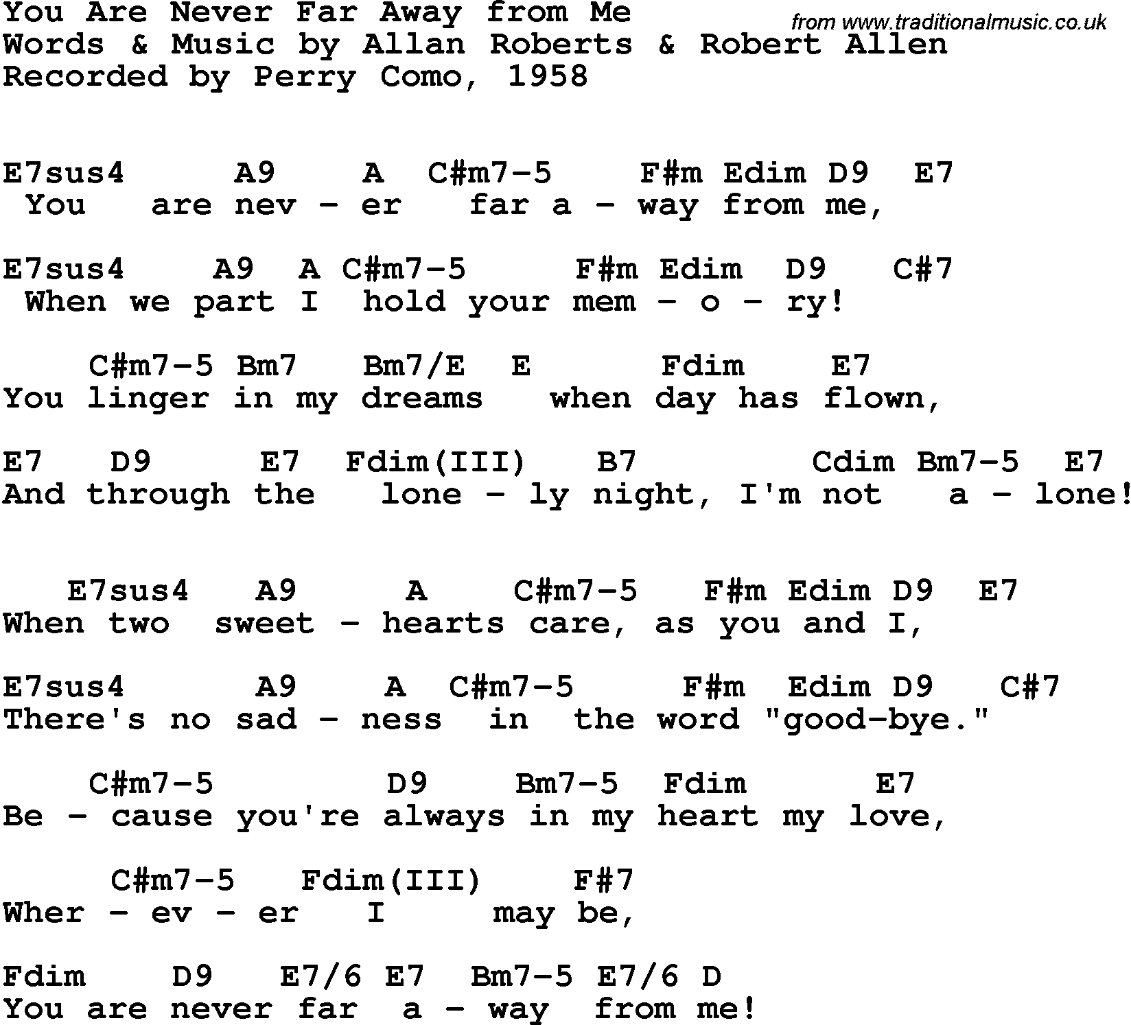 Song Lyrics With Guitar Chords For You Are Never Far Away From Me
