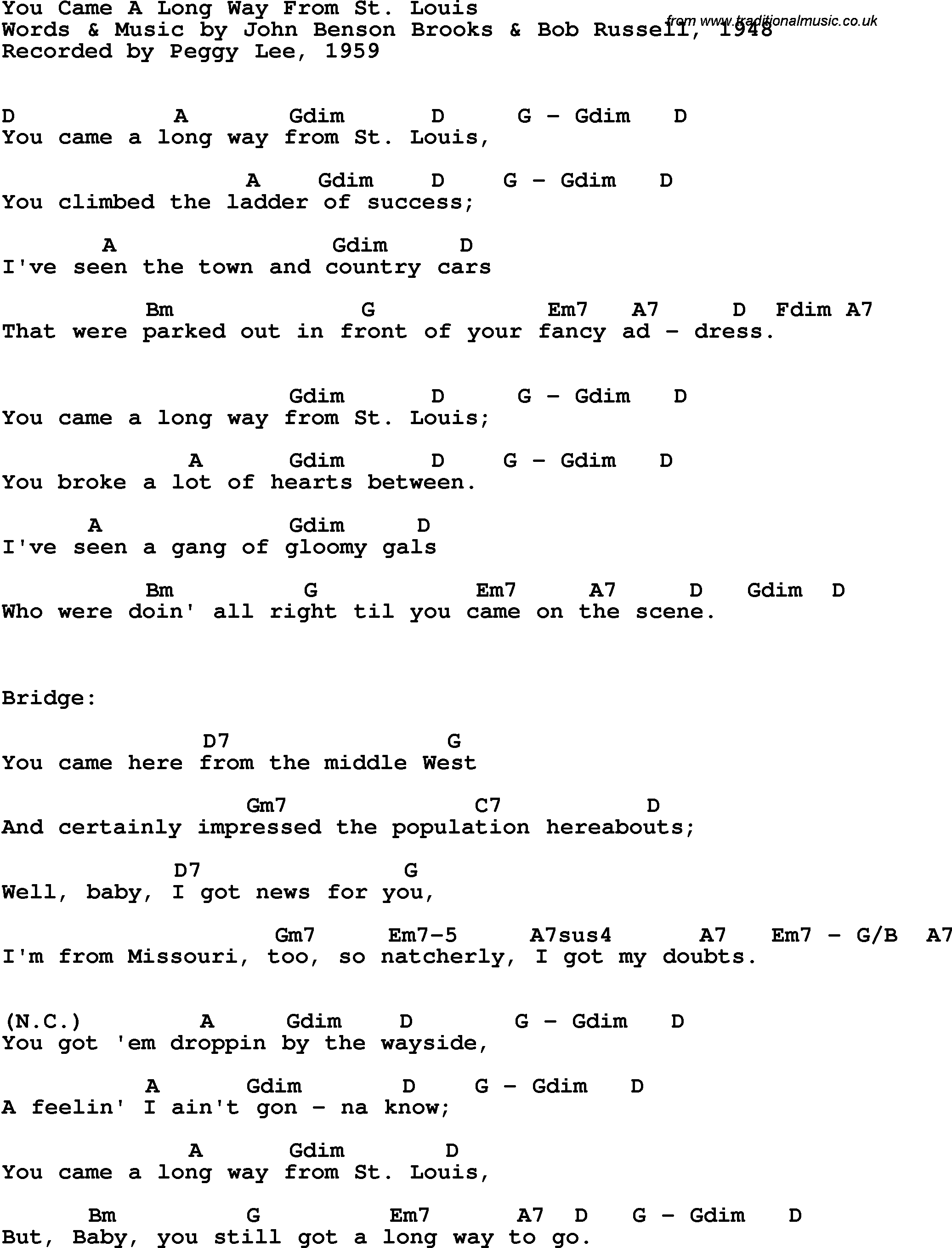 Song Lyrics With Guitar Chords For You Came A Long Way From St