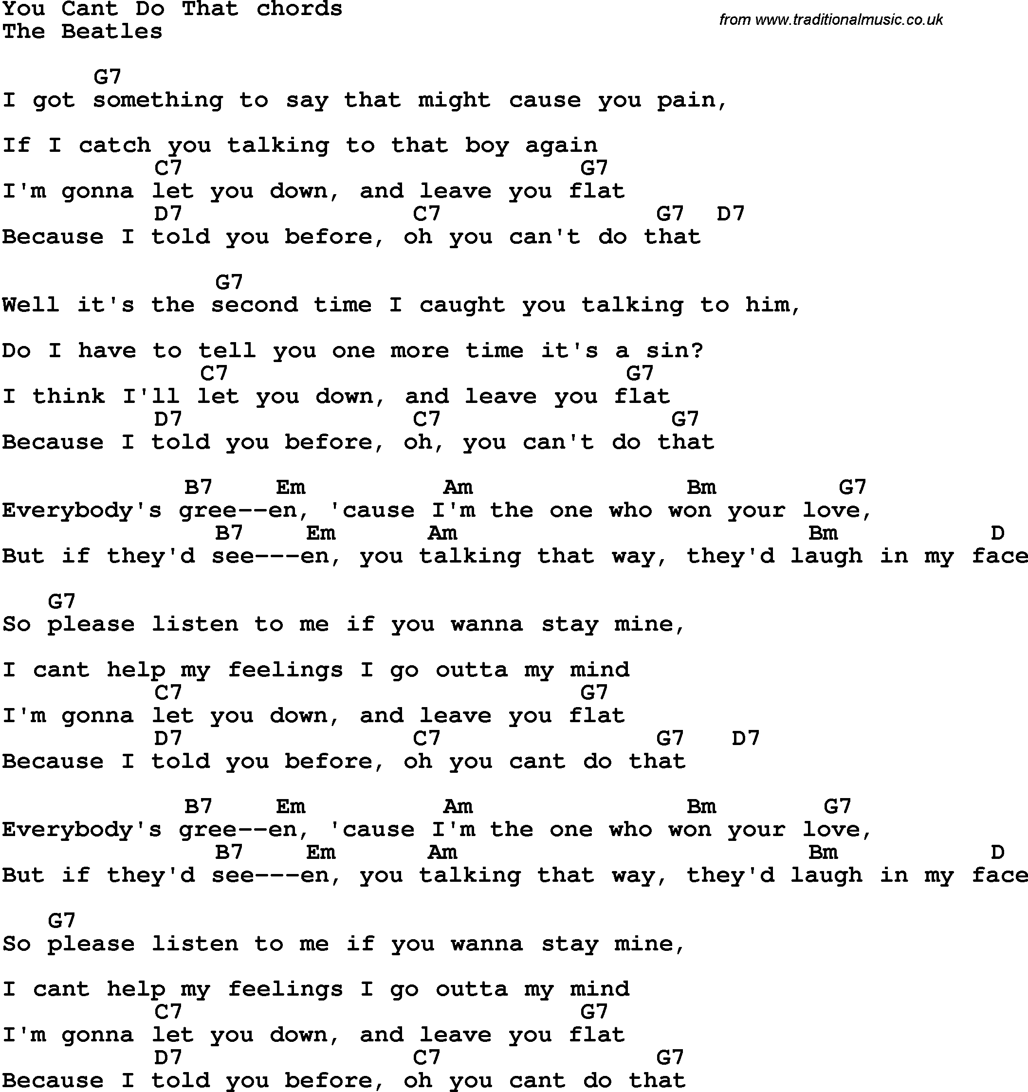 Song Lyrics With Guitar Chords For You Cant Do That