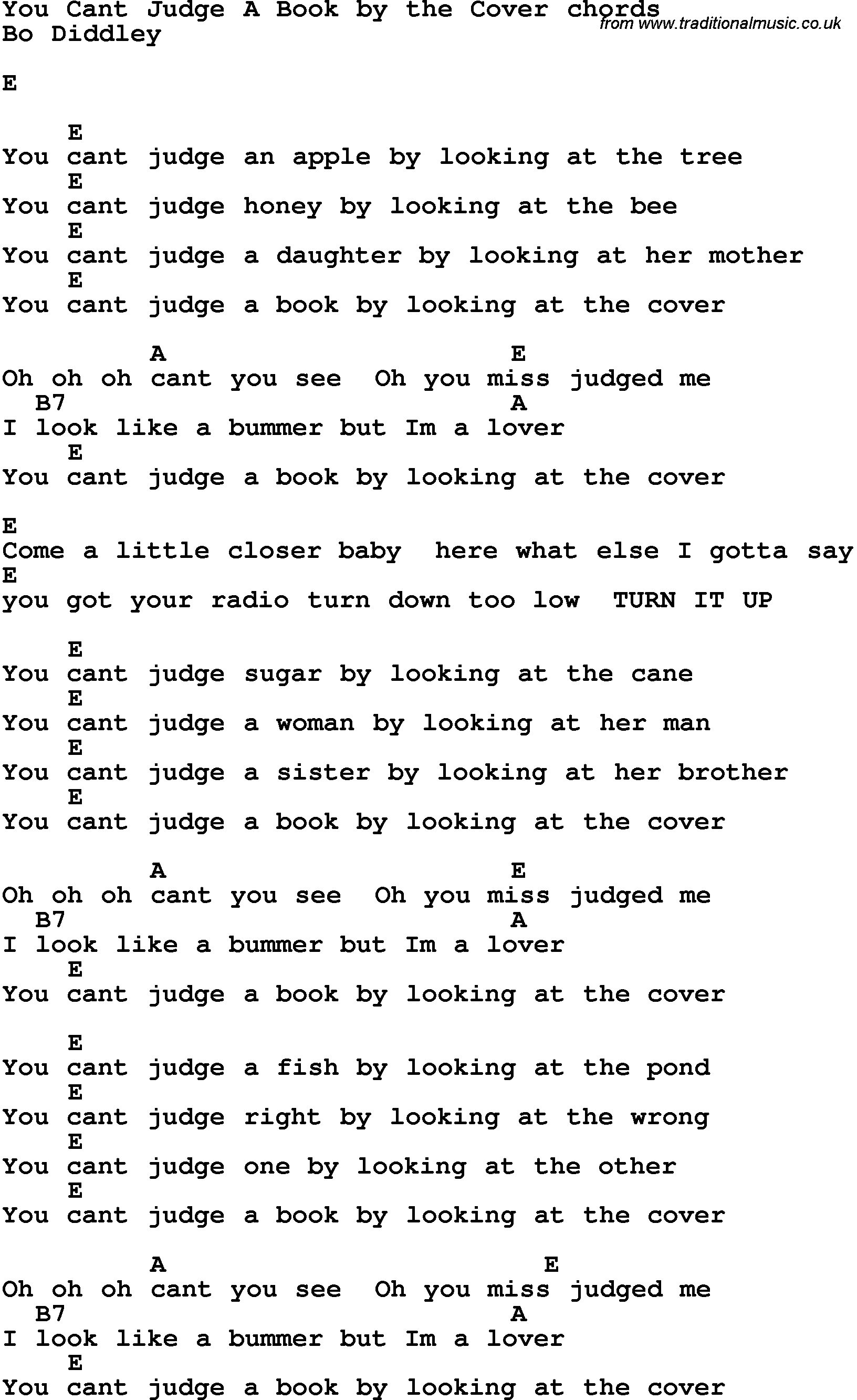 Song Lyrics With Guitar Chords For You Cant Judge A Book By The Cover