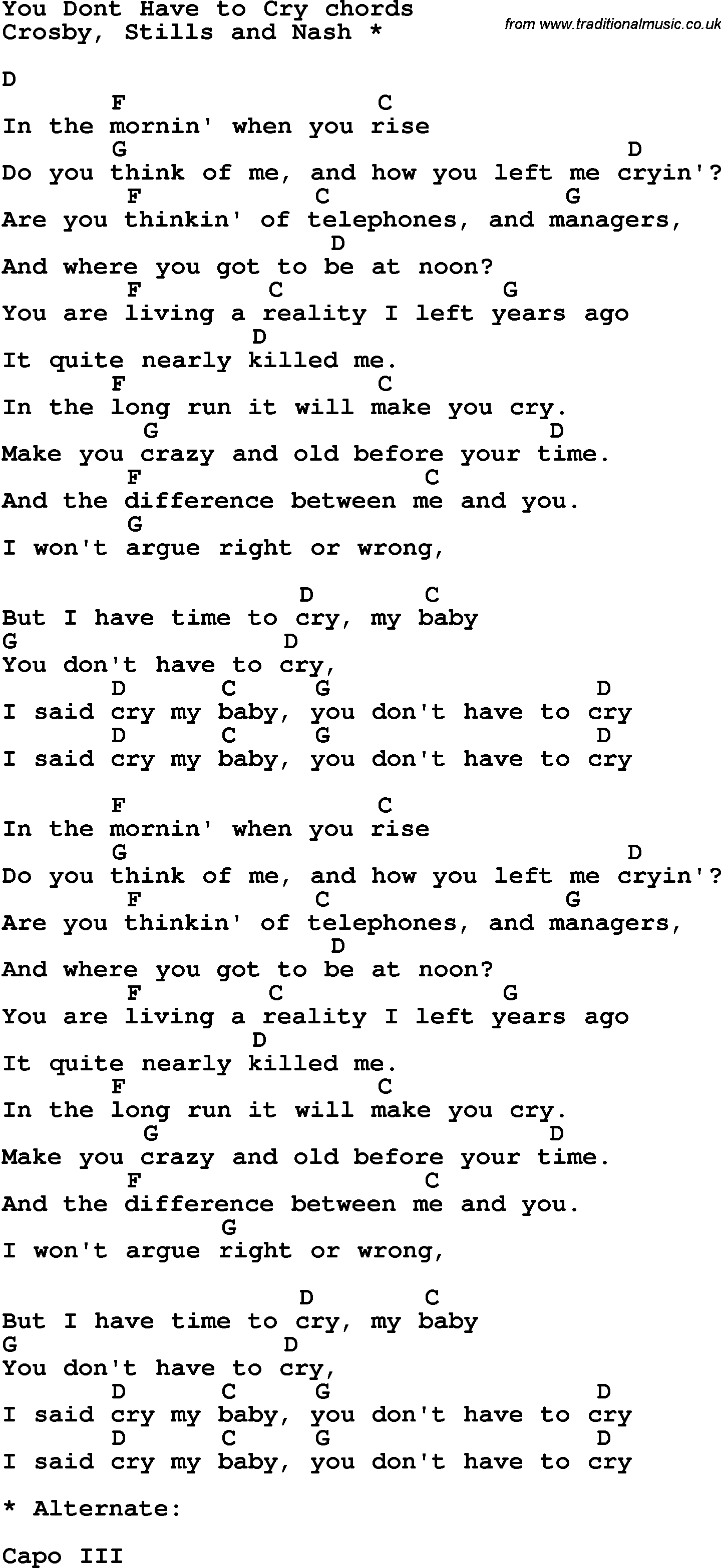 Song Lyrics With Guitar Chords For You Dont Haveto Cry