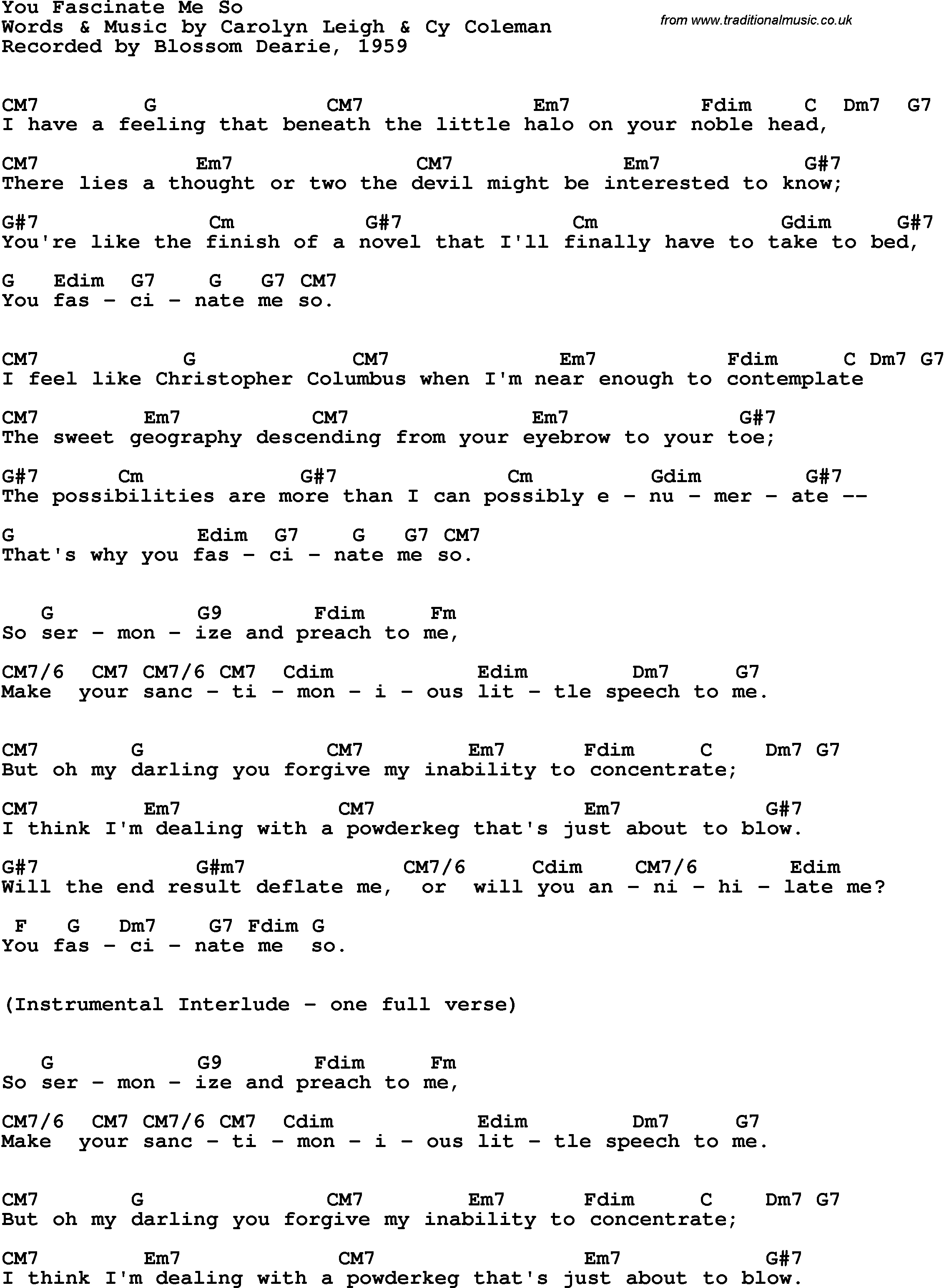 Song Lyrics With Guitar Chords For You Fascinate Me So Blossom
