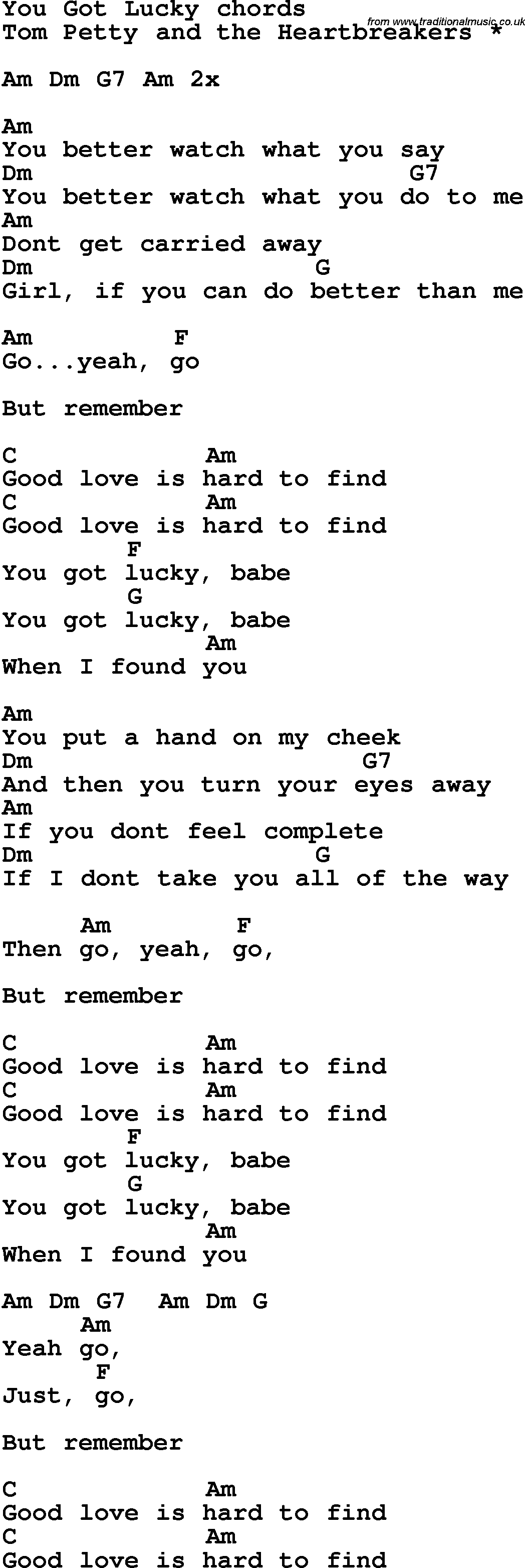 Song lyrics with guitar chords for You Got Lucky