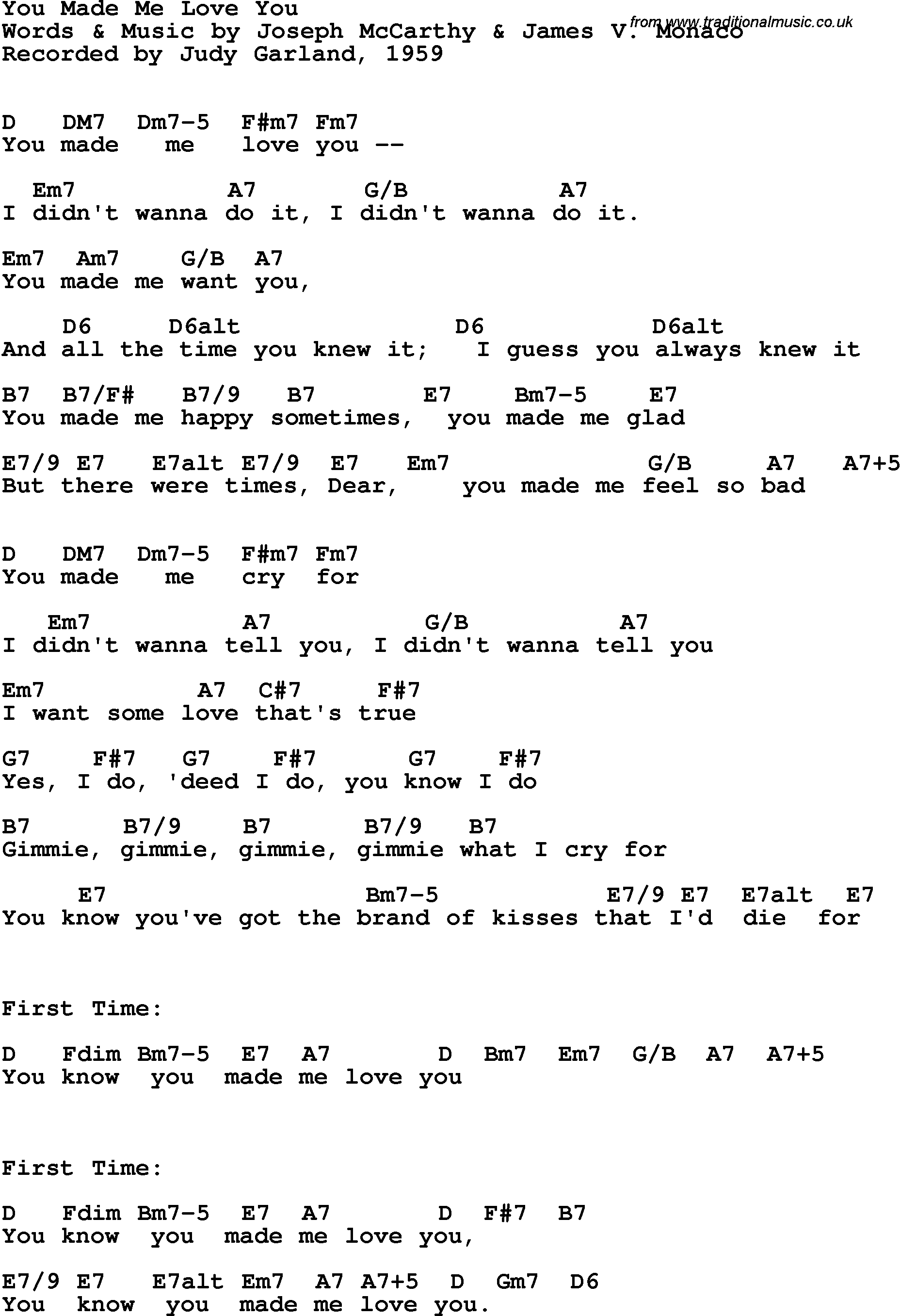 Song lyrics with guitar chords for You Made Me Love You - Judy Garland, 1959