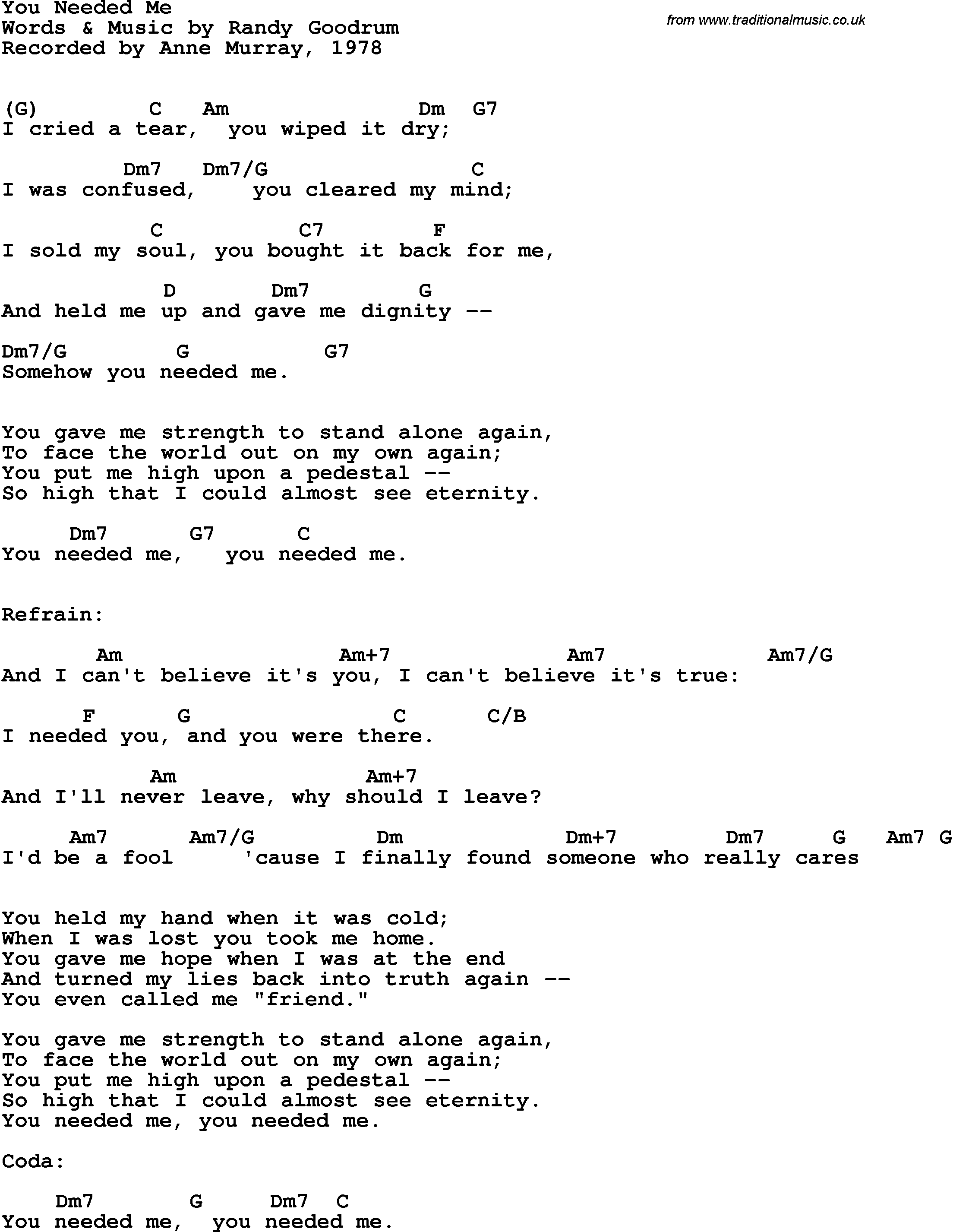 Song lyrics with guitar chords for You Needed Me - Anne Murray, 1978