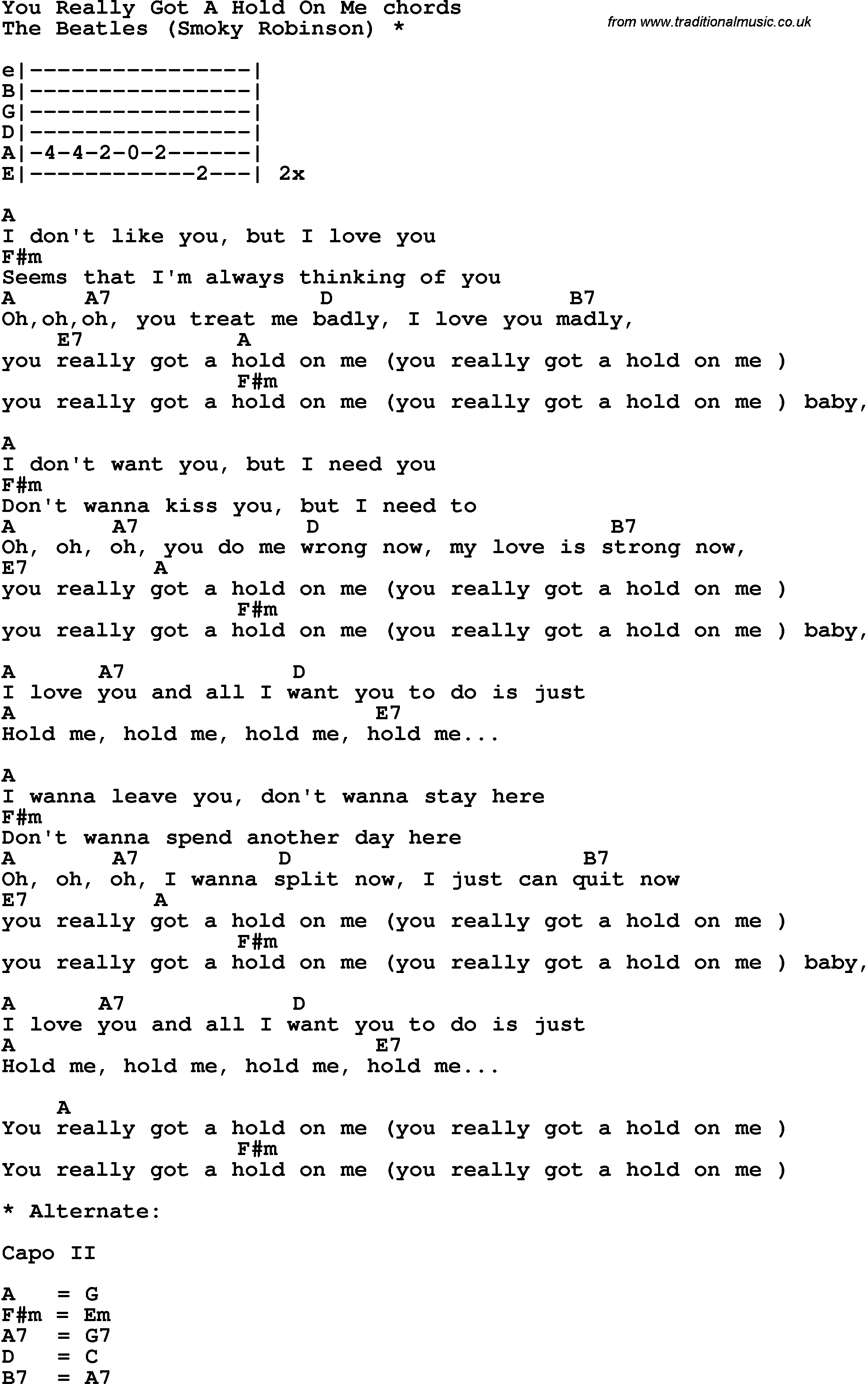 Song lyrics with guitar chords for you really got a hold on me song lyrics with guitar chords for you really got a hold on me the beatles hexwebz Images