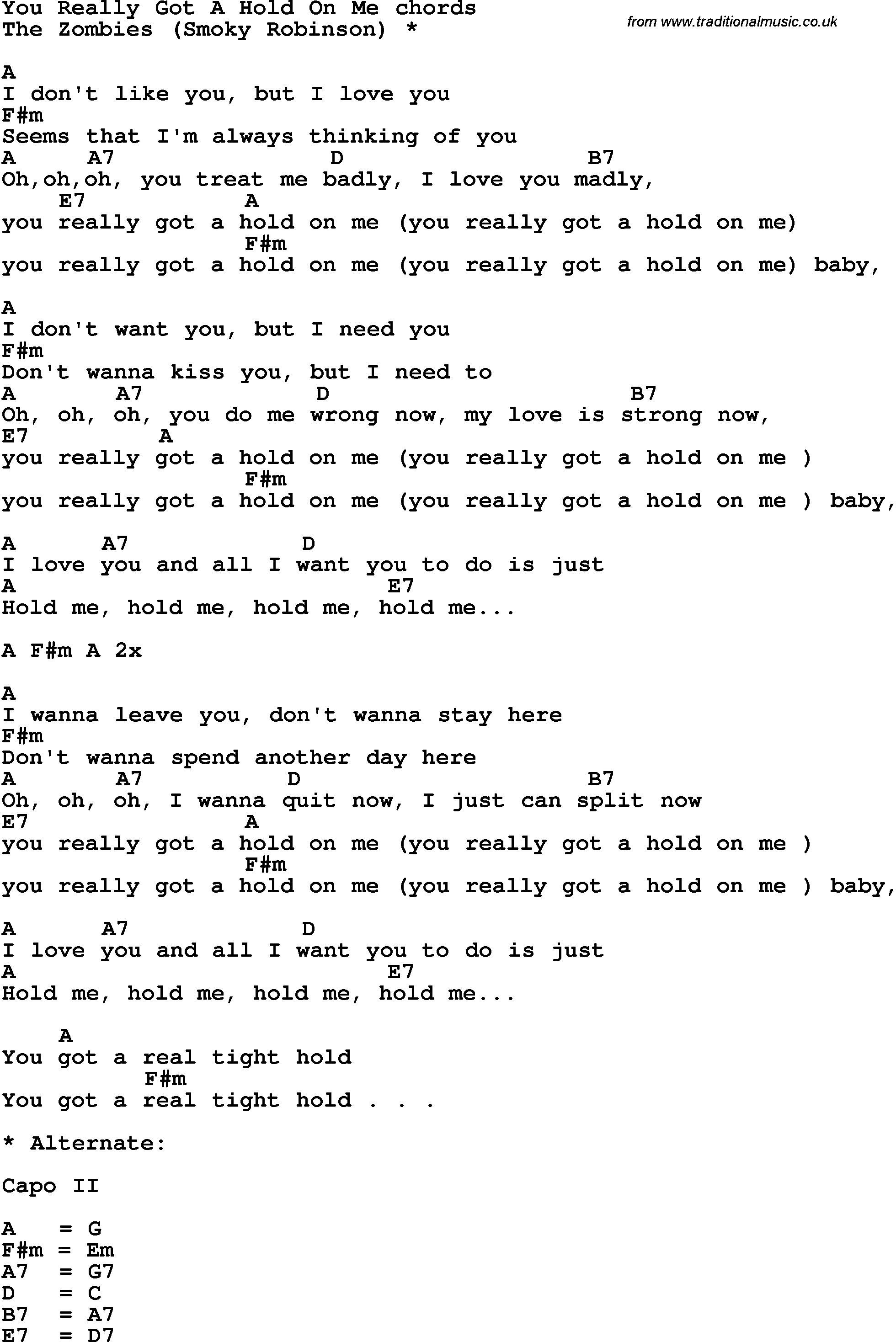 Song lyrics with guitar chords for You Really Got A Hold On Me - Zombies
