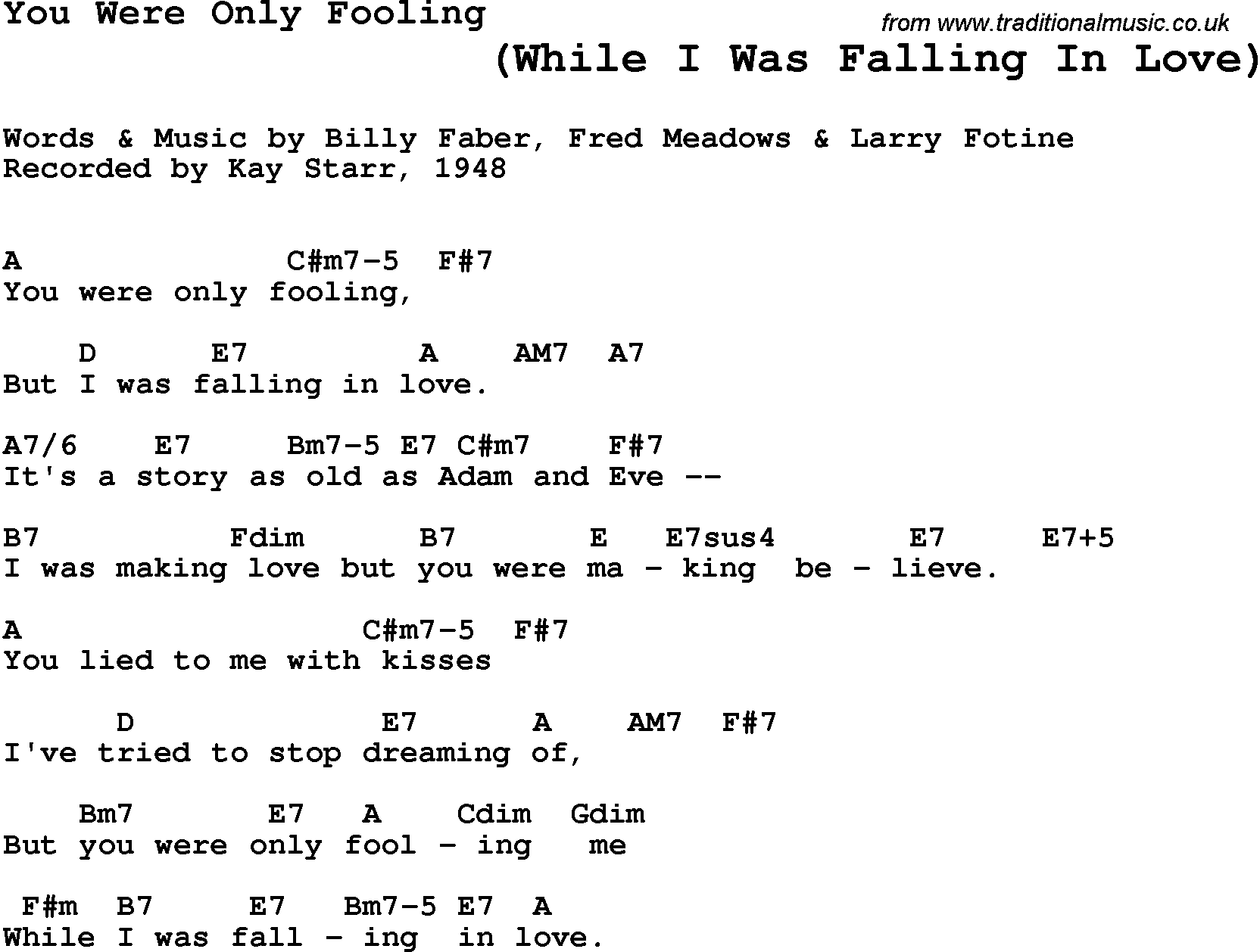 Song Lyrics With Guitar Chords For You Were Only Fooling Kay Starr