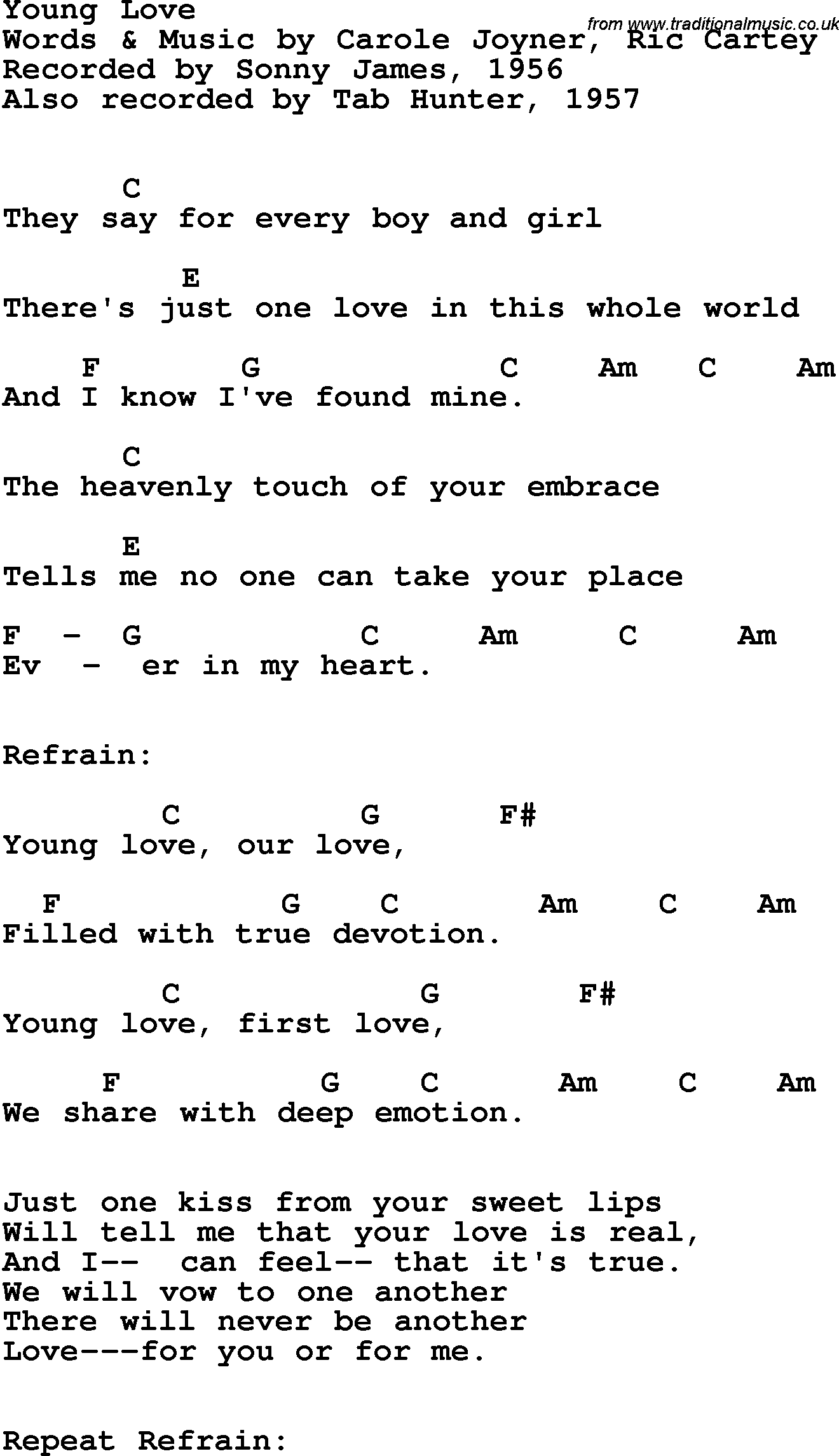 Song Lyrics With Guitar Chords For Young Love Sonny James 1956