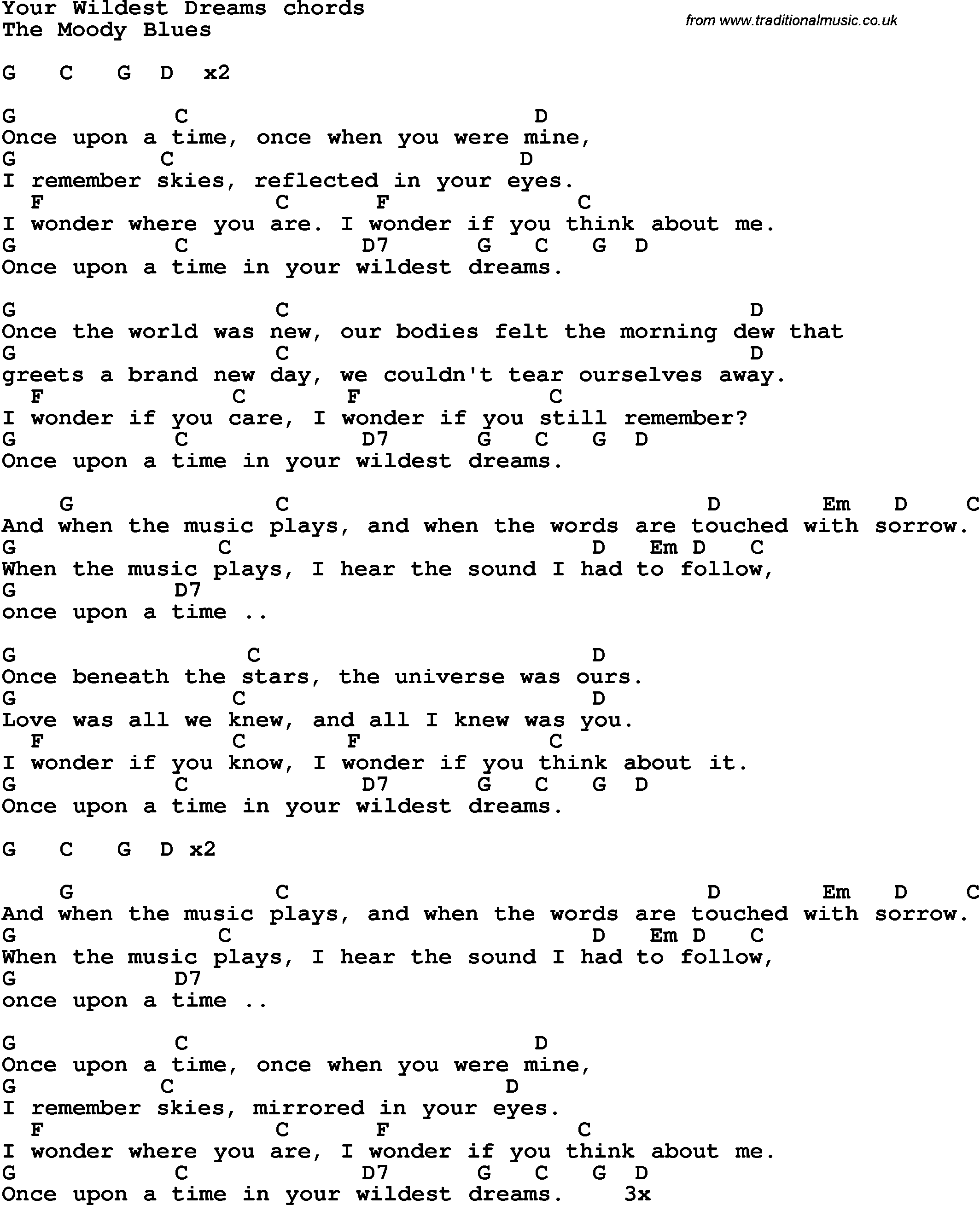 Song Lyrics With Guitar Chords For Your Wildest Dreams