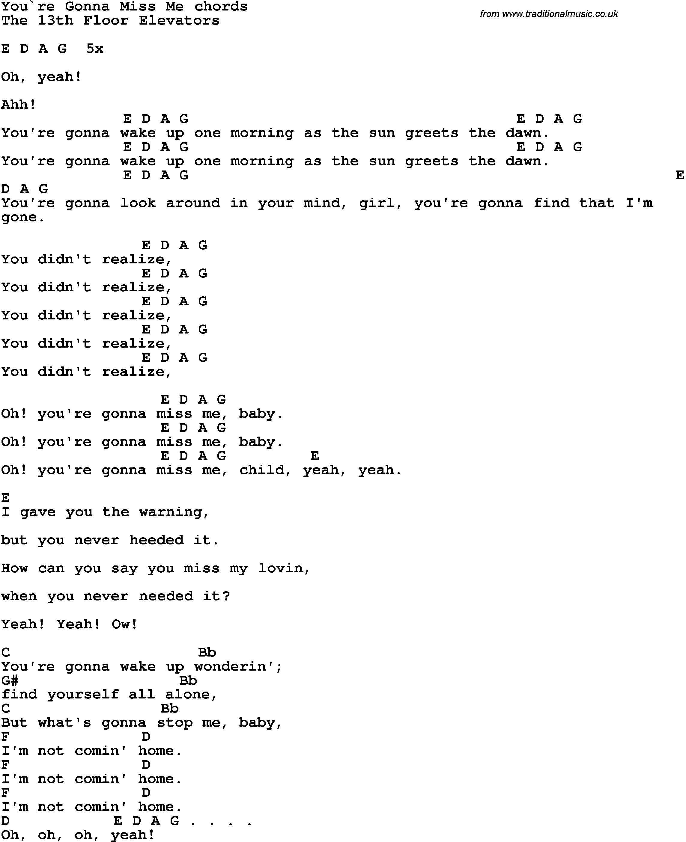 Song Lyrics With Guitar Chords For Youre Gonna Miss Me