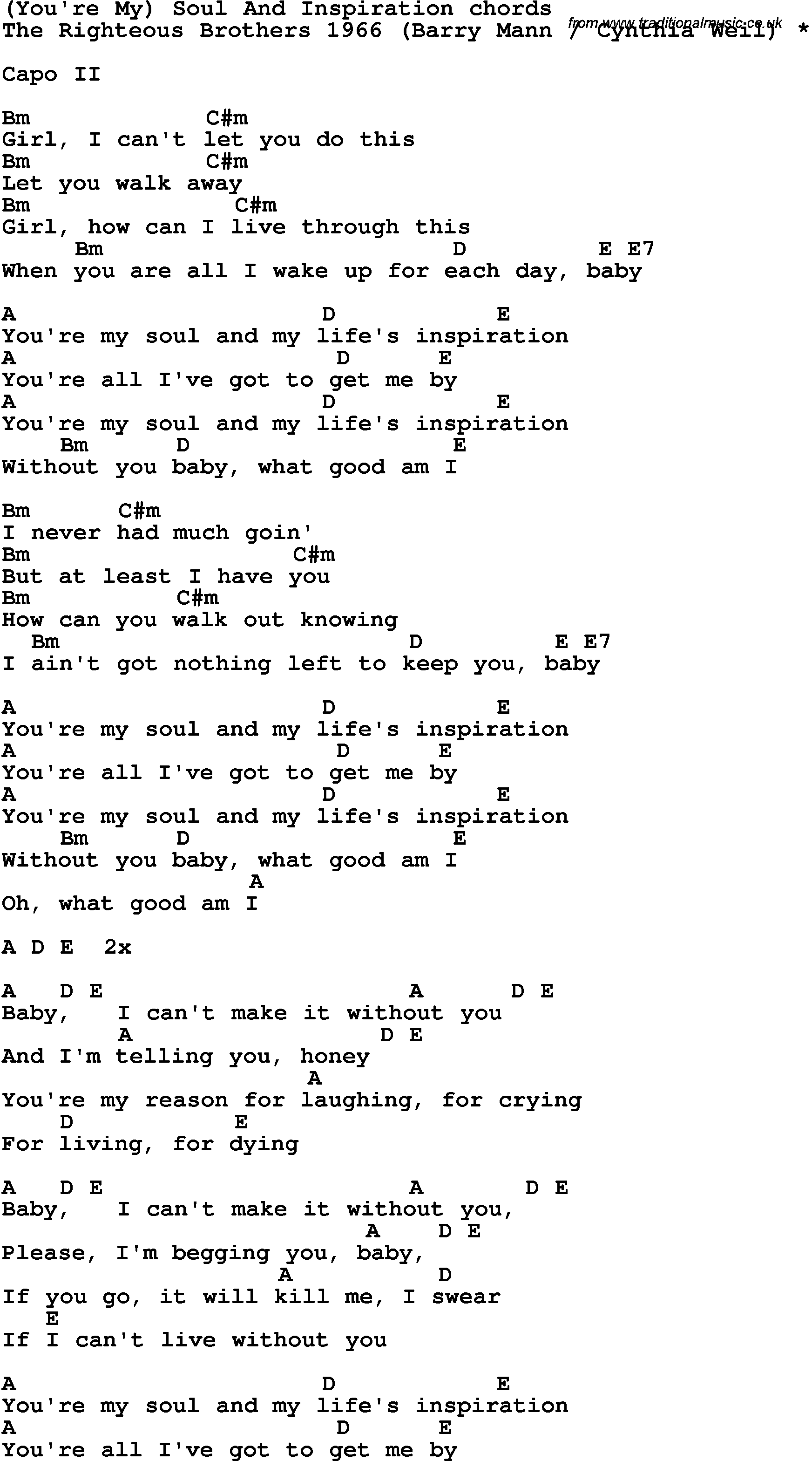 Song Lyrics With Guitar Chords For Youre My Soul And Inspiration