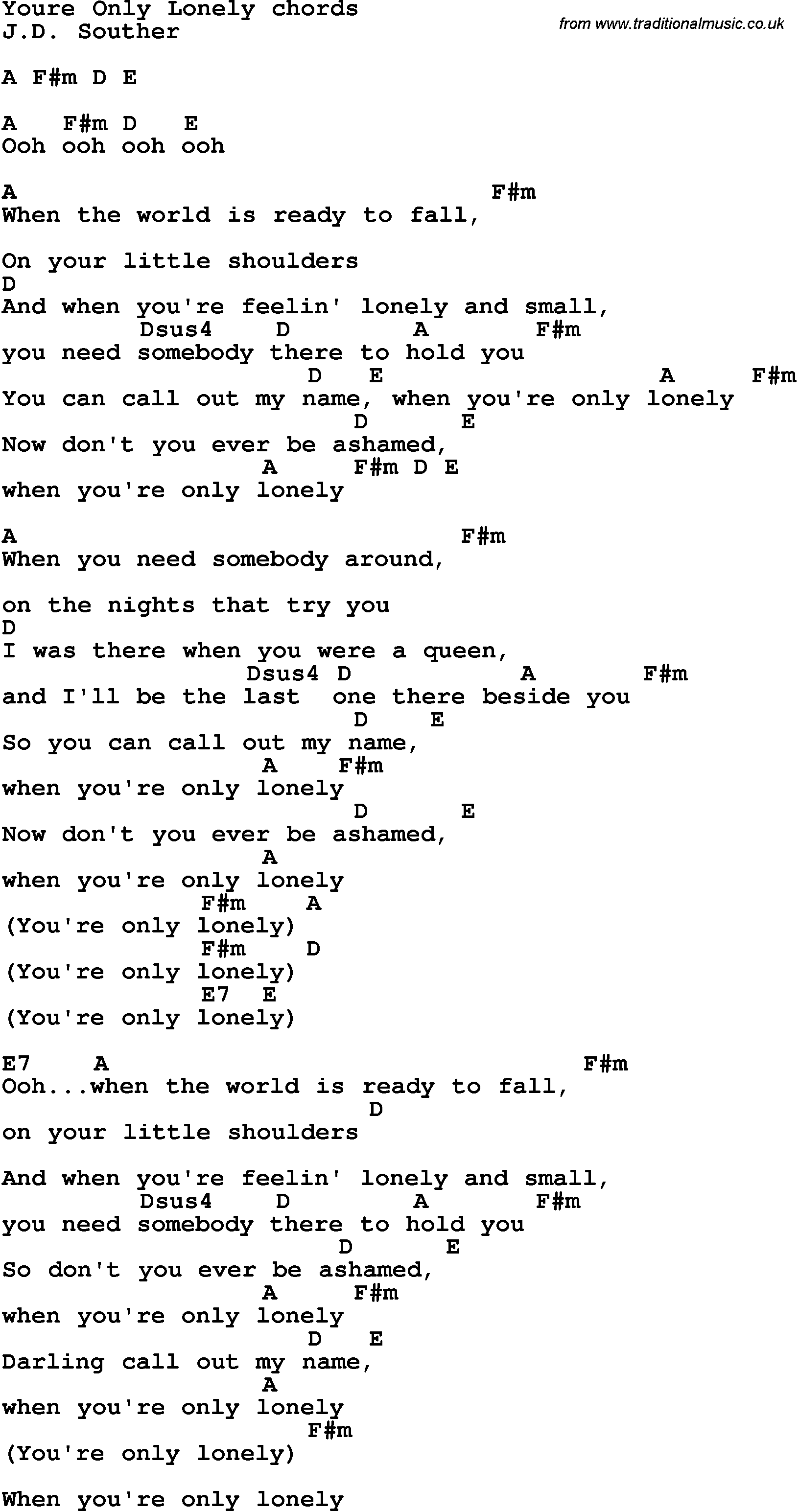 Song Lyrics With Guitar Chords For Youre Only Lonely