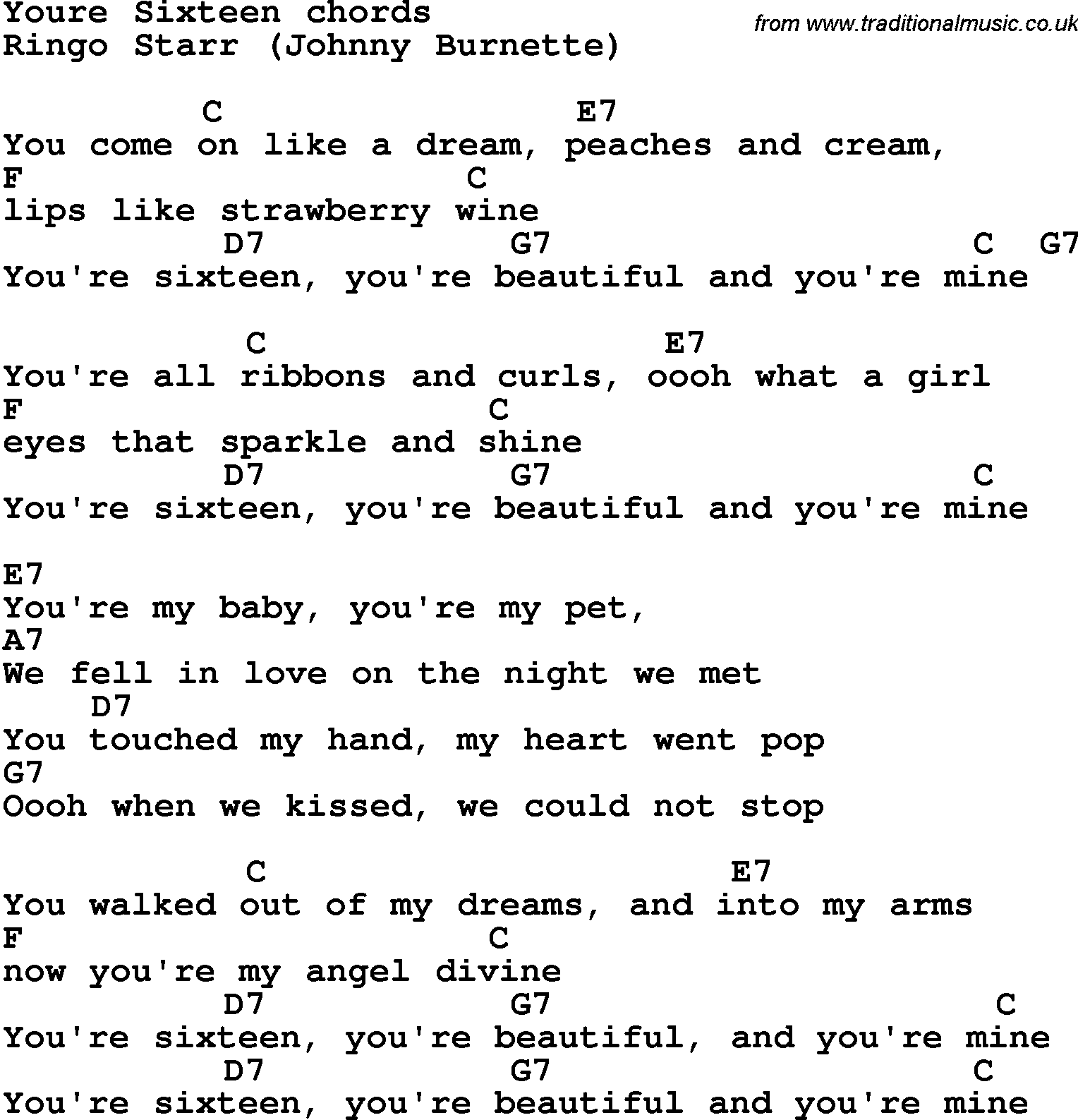 Song Lyrics With Guitar Chords For Youre Sixteen Ringo Starr
