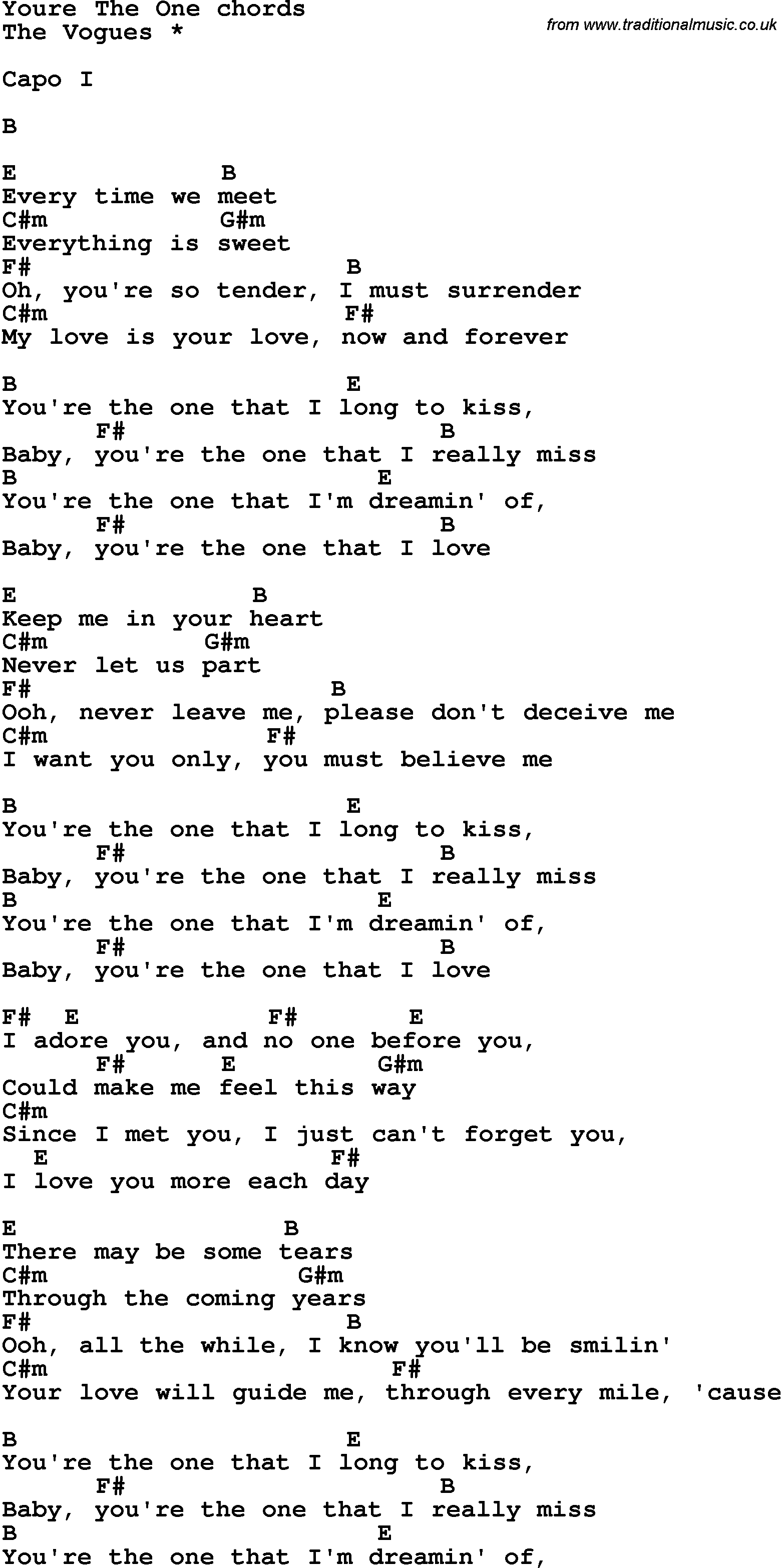 Song Lyrics With Guitar Chords For Youre The One The Vogues