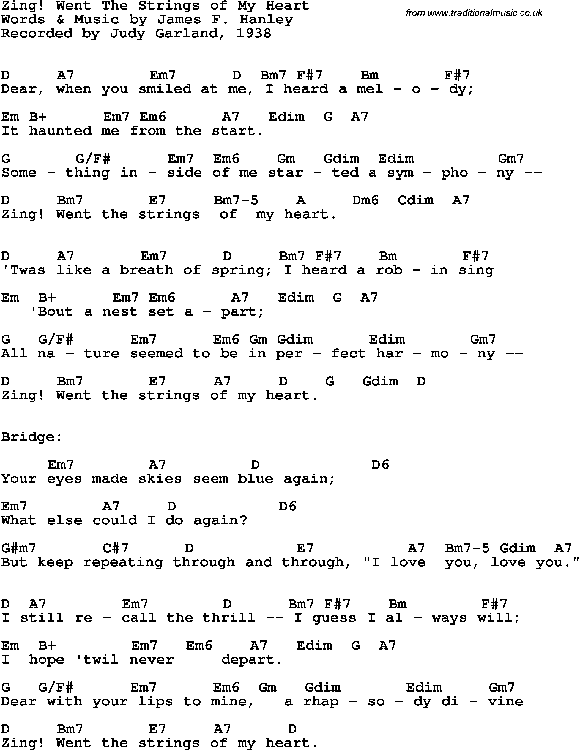 Song Lyrics With Guitar Chords For Zing Went The Strings Of My