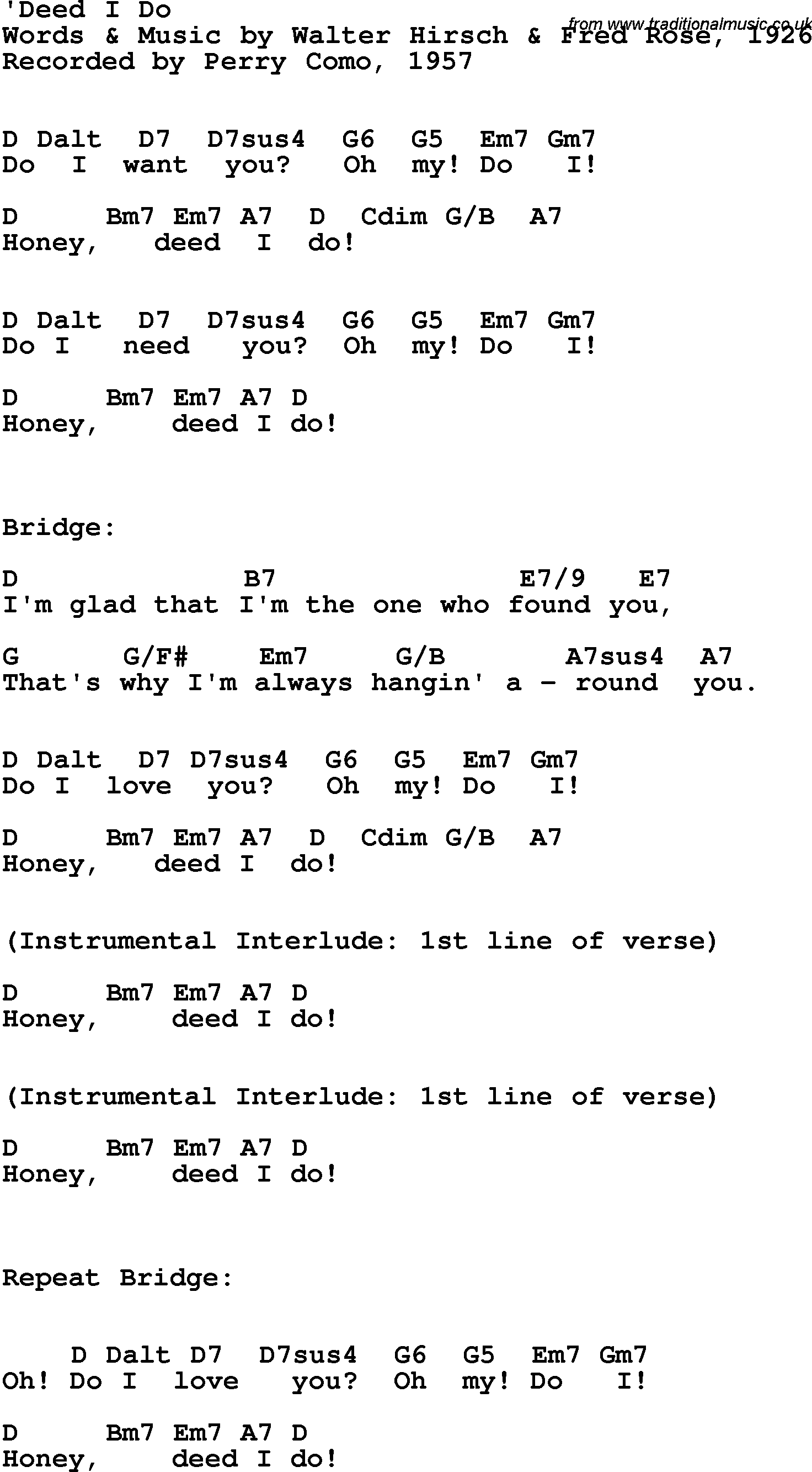 Song Lyrics With Guitar Chords For Deed I Do Perry Como 1957