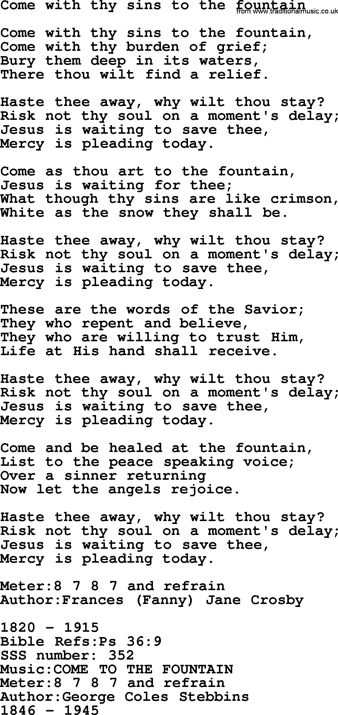 Sacred Songs and Solos complete(words version), Song: Come