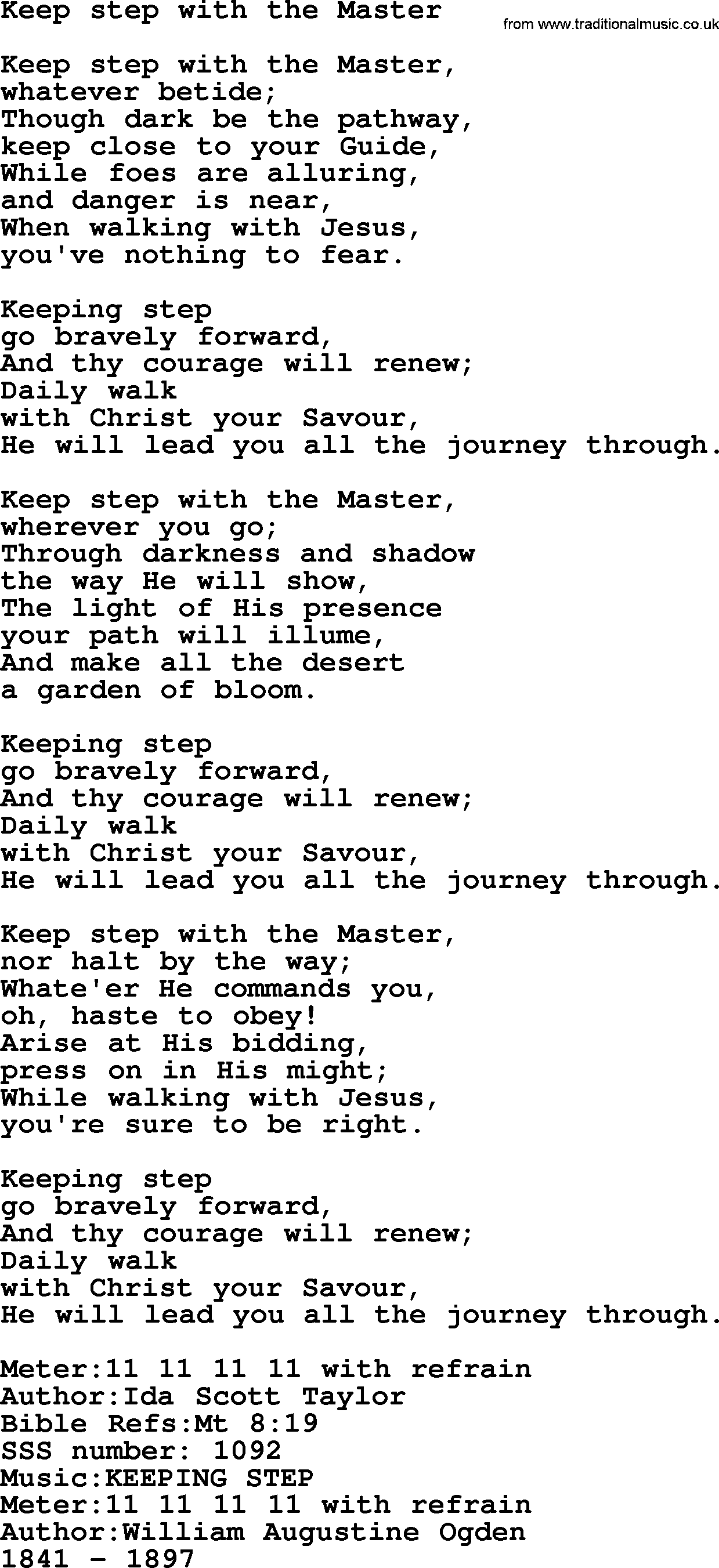 Sacred Songs and Solos complete(words version), Song: Keep ... - photo#25