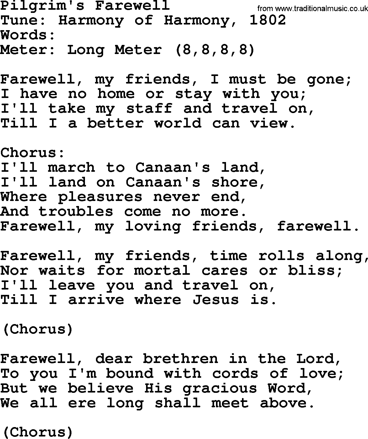 Sacred Harp Song: Pilgrim's Farewell - lyrics, and PDF