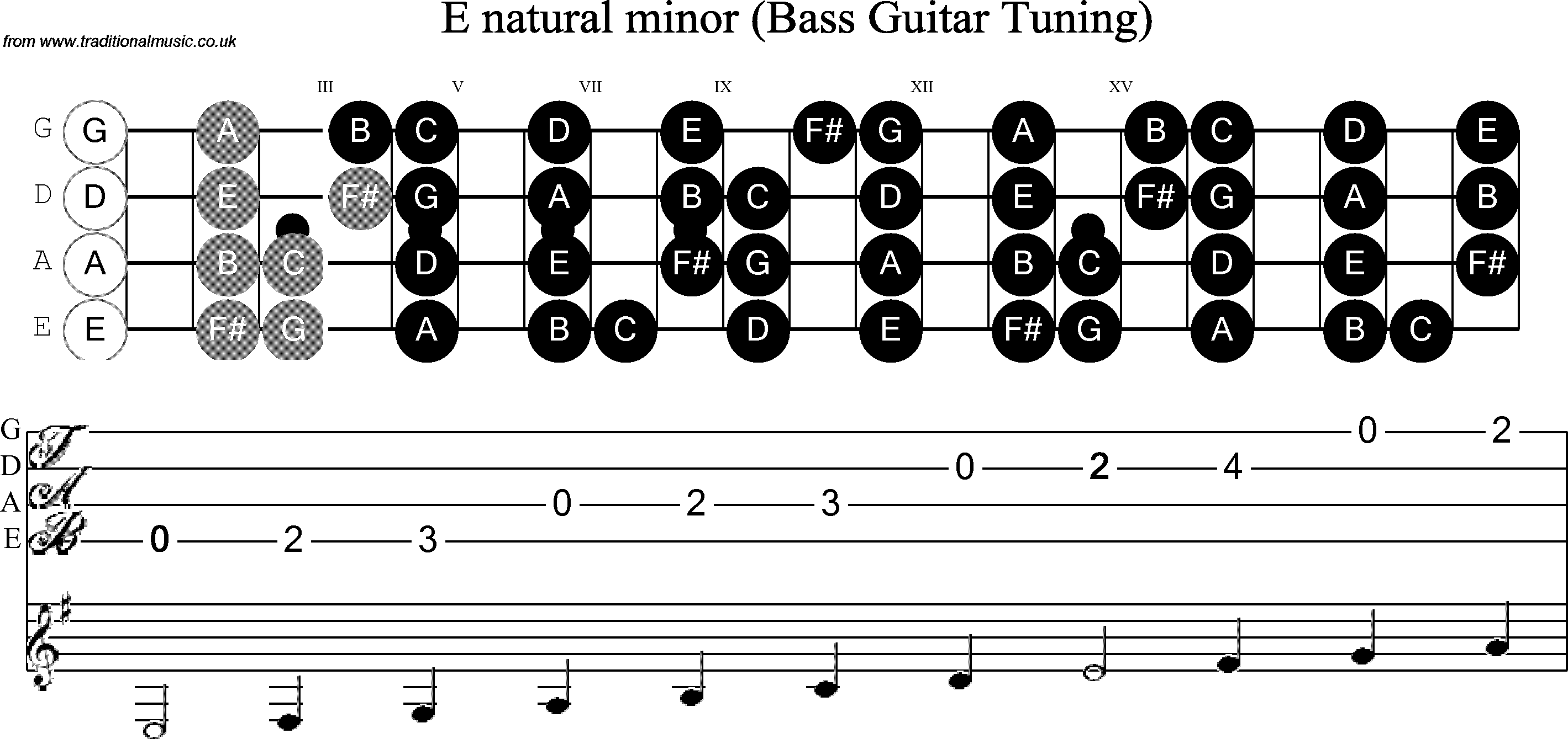 Bass Guitar Scale E Minor