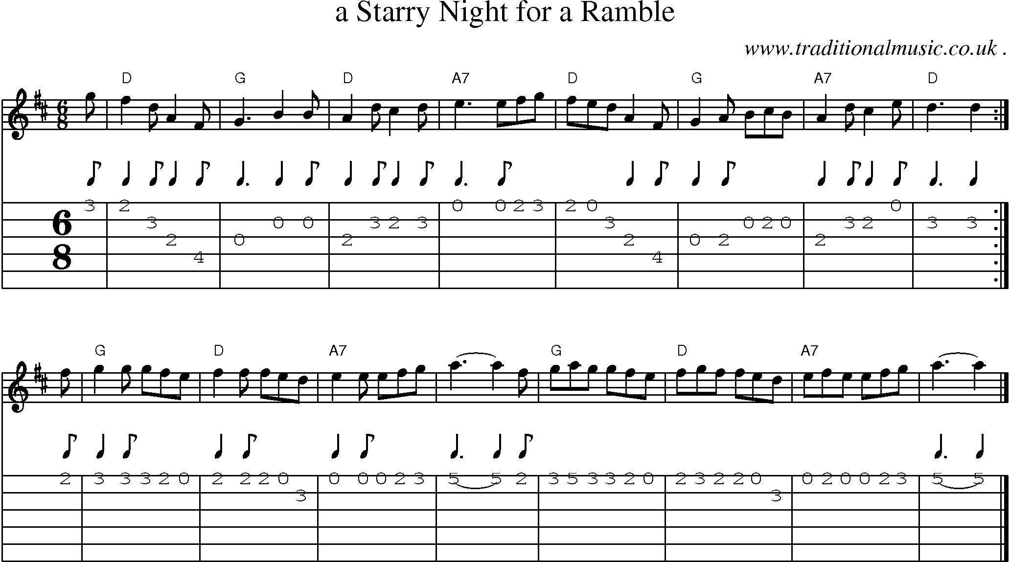 ... -music score, Chords and Guitar Tabs for A Starry Night For A Ramble