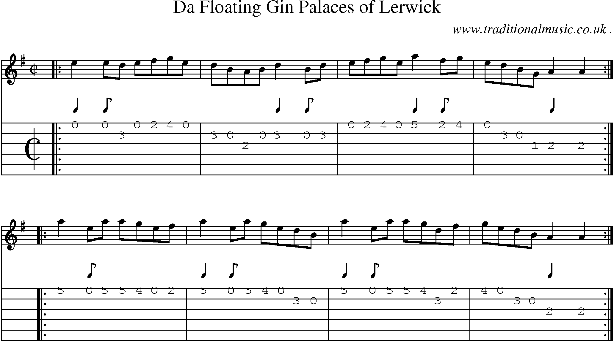 Scottish Tune, Sheetmusic, Midi, Mp3, Guitar chords u0026 tabs: Da Floating Gin Palaces Of Lerwick